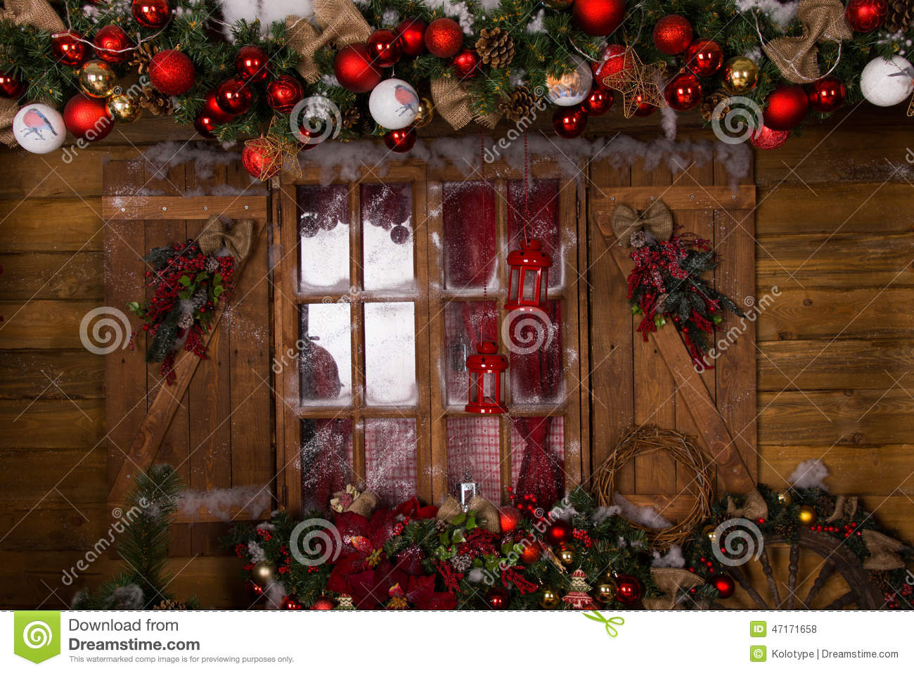 Rustic cabin christmas decorations - Christmas Decors At Glass Window With Wooden Frame Stock