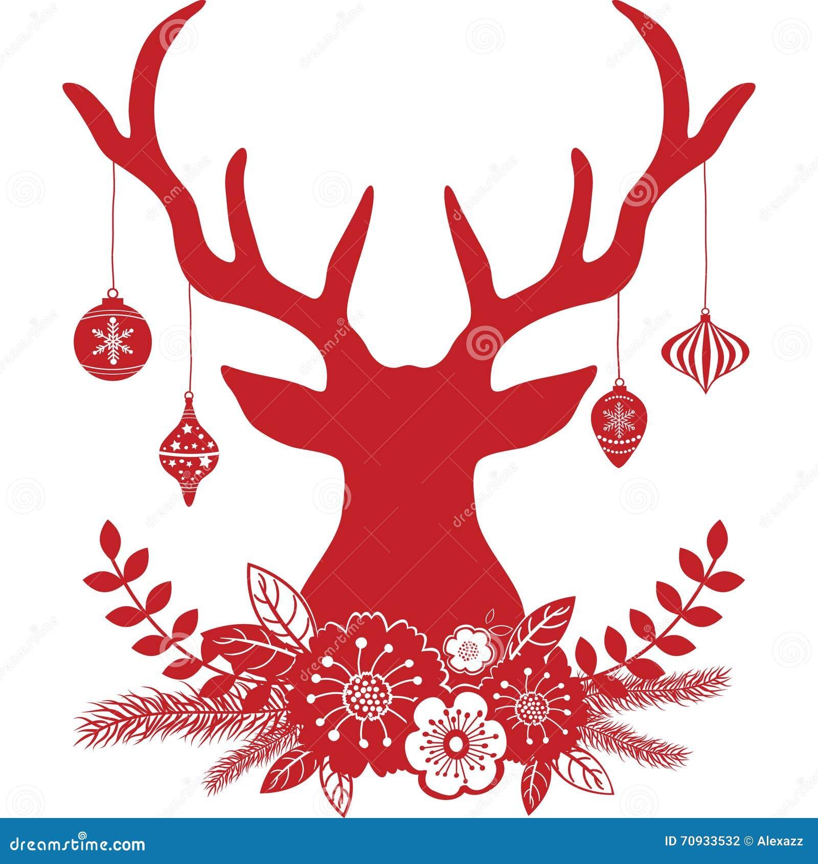 christmas deer antlers with flowers christmas ball