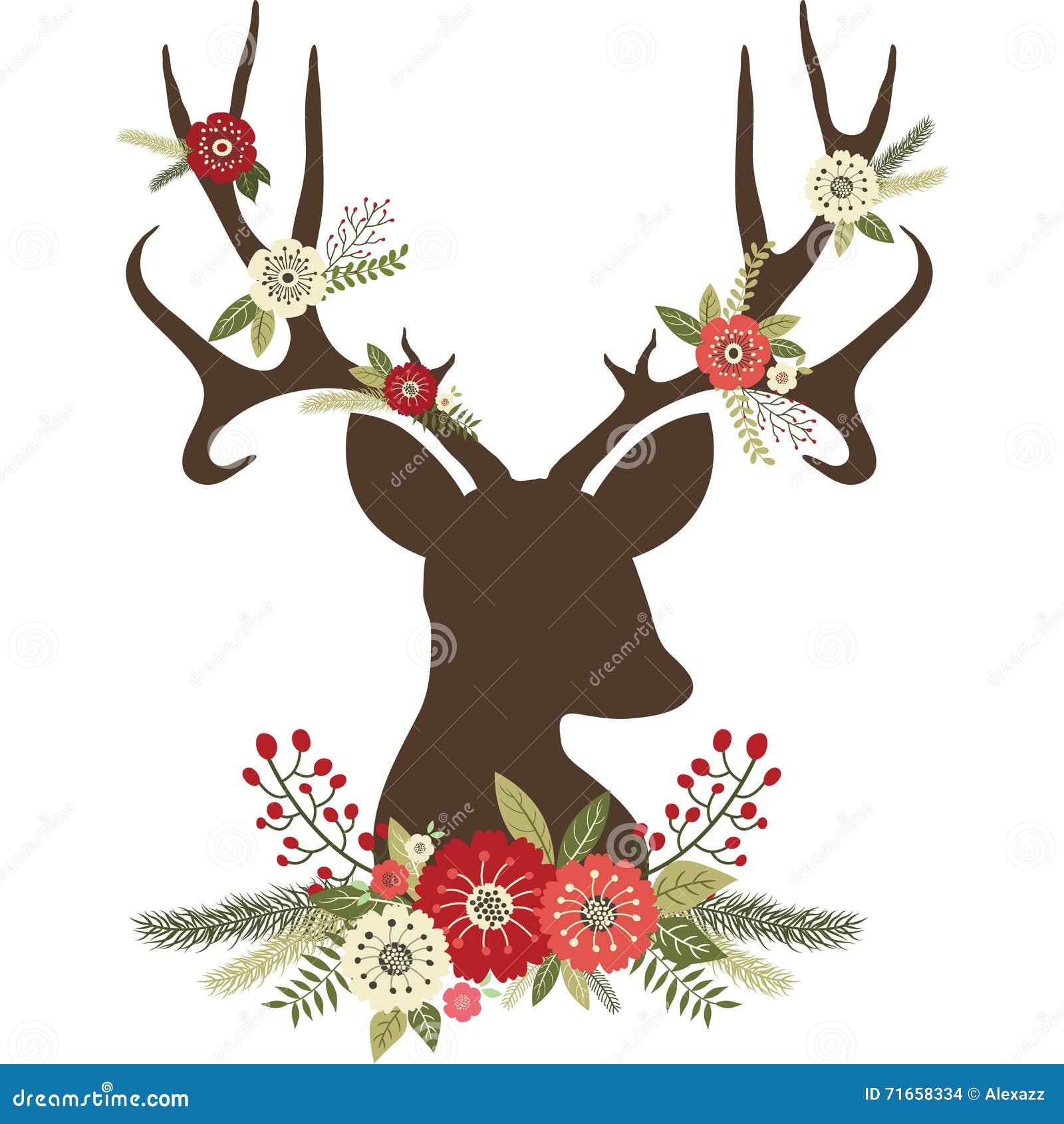 Christmas Deer Antlers With Flowers Stock Vector - Image: 71658334