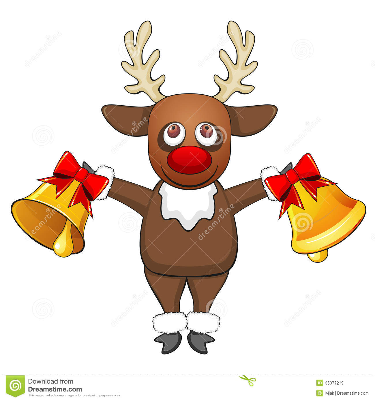 Christmas deer with bells stock vector image of festive