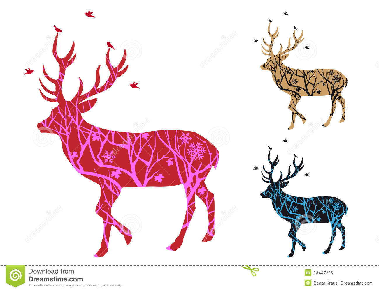 Christmas Deer With Birds, Vector Royalty Free Stock Photo - Image ...