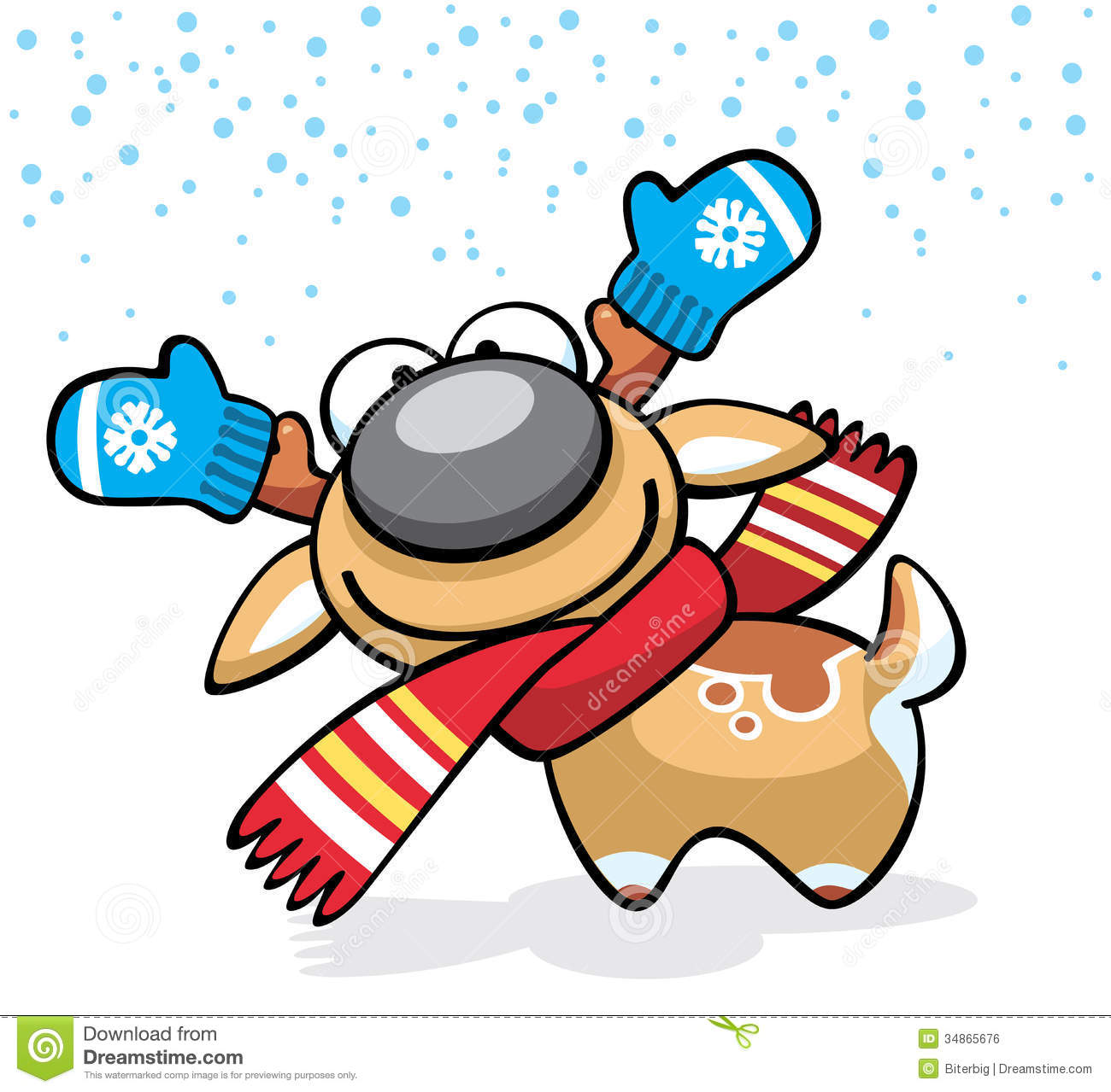 christmas deer fun character with mittens and scarf stock vector