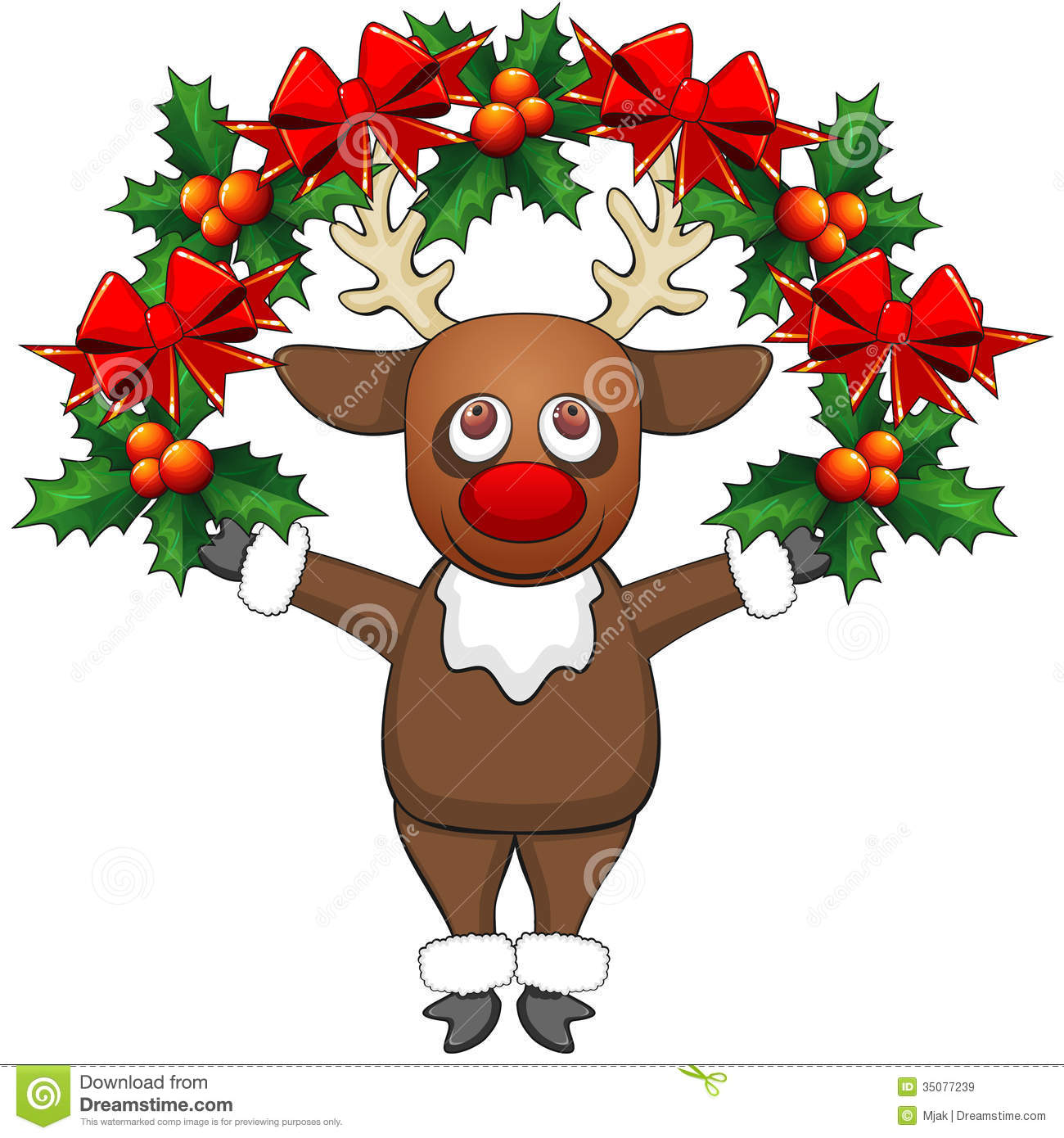 Christmas Deer With Garland Stock Vector Illustration Of