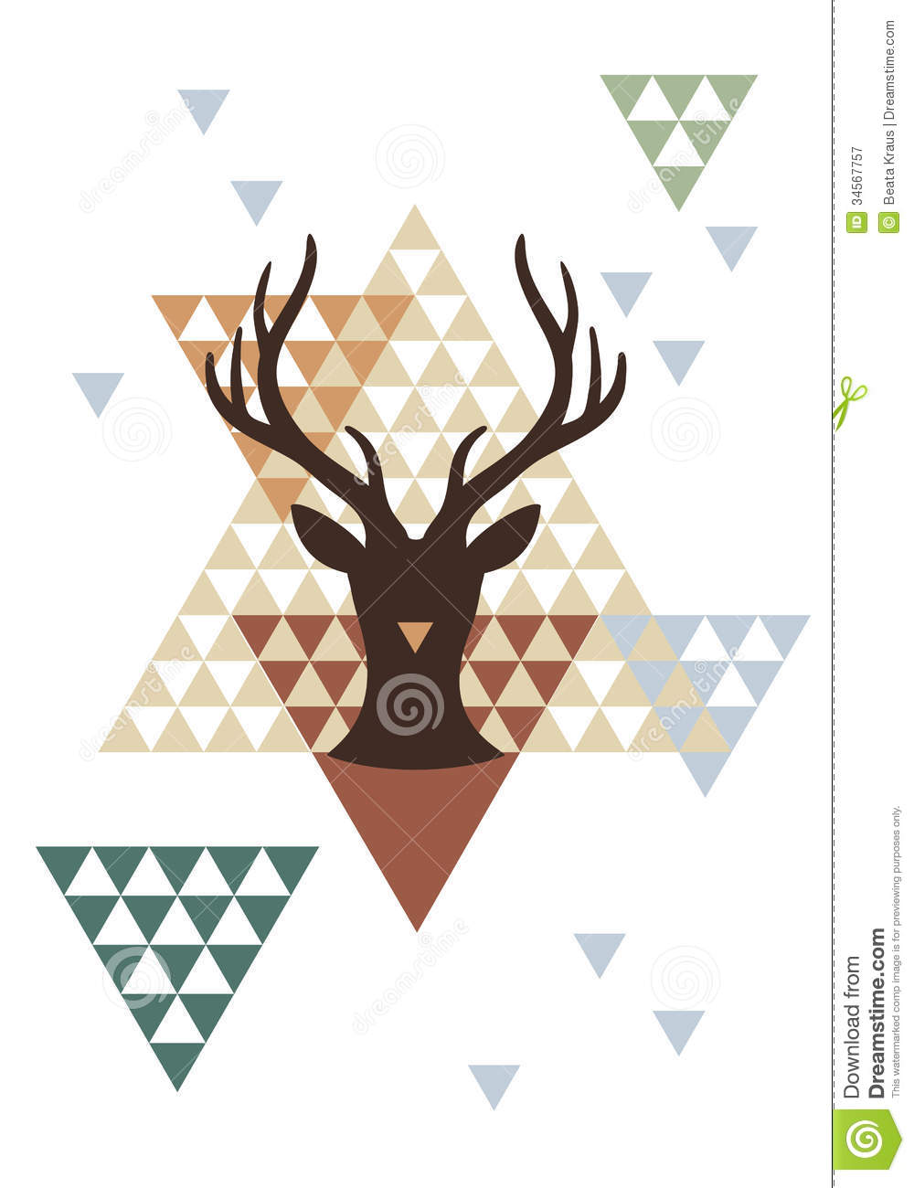 Christmas deer with abstract geometric pattern, vector background ... Sacred Geometry 3d Shapes