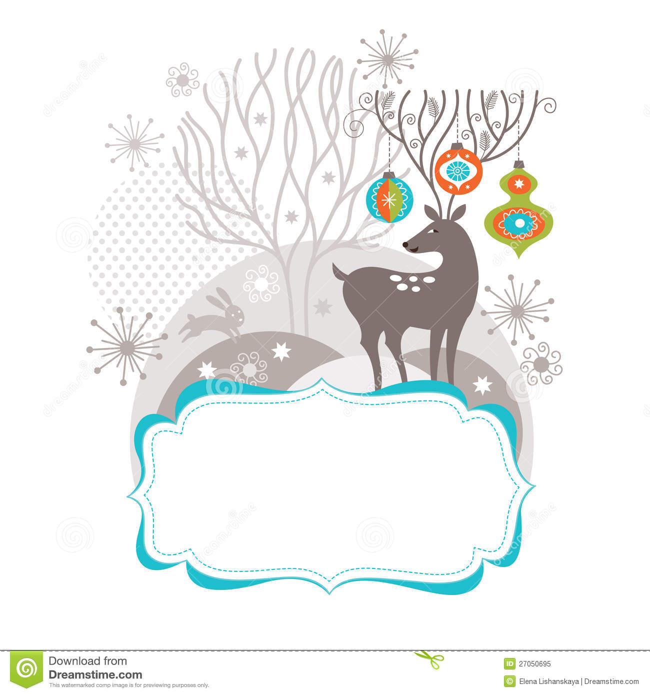 Christmas Deer, Greeting Card Stock Vector - Illustration of ...