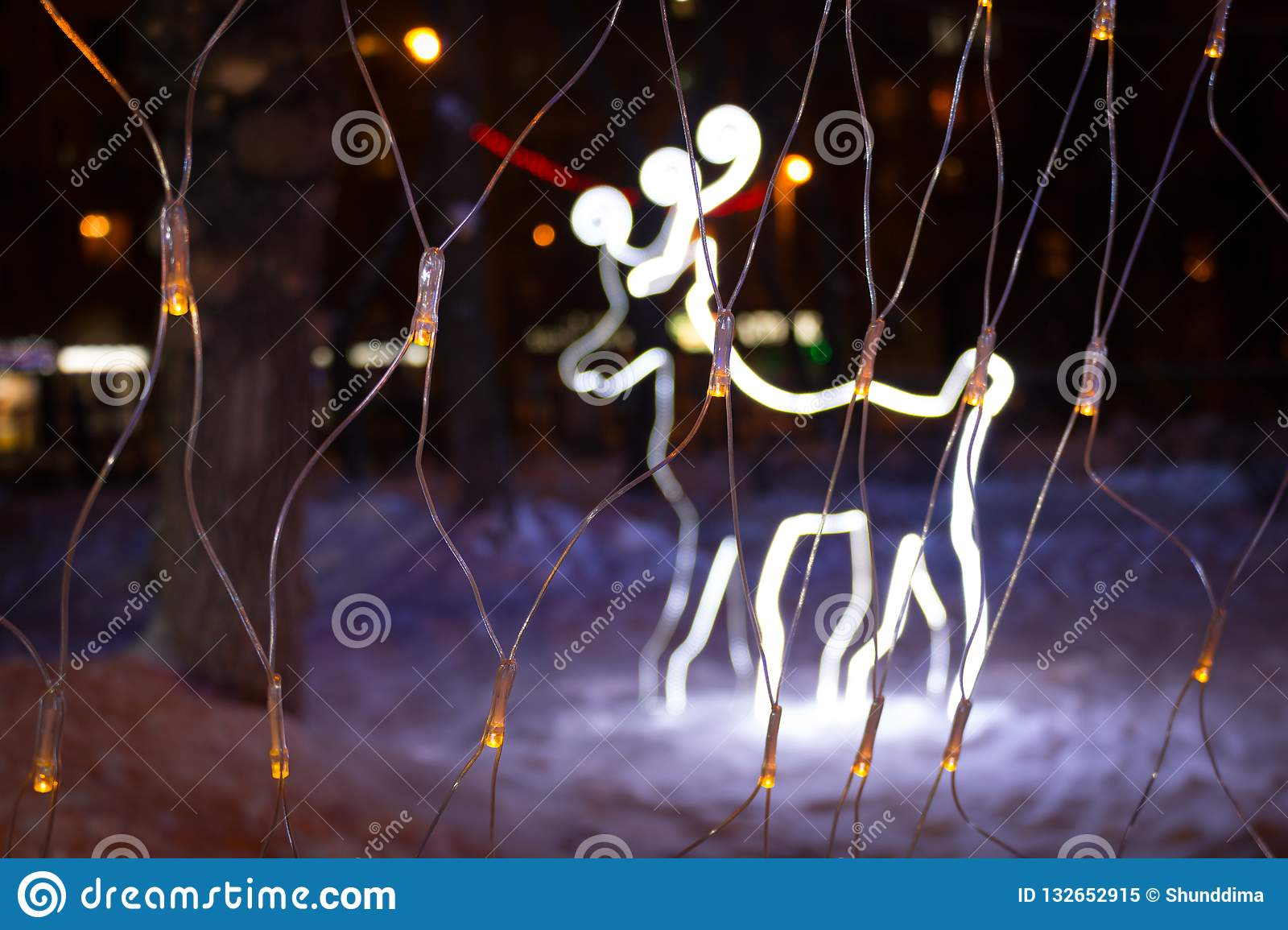 Christmas Deer With Lights At Night Christmas Decorations
