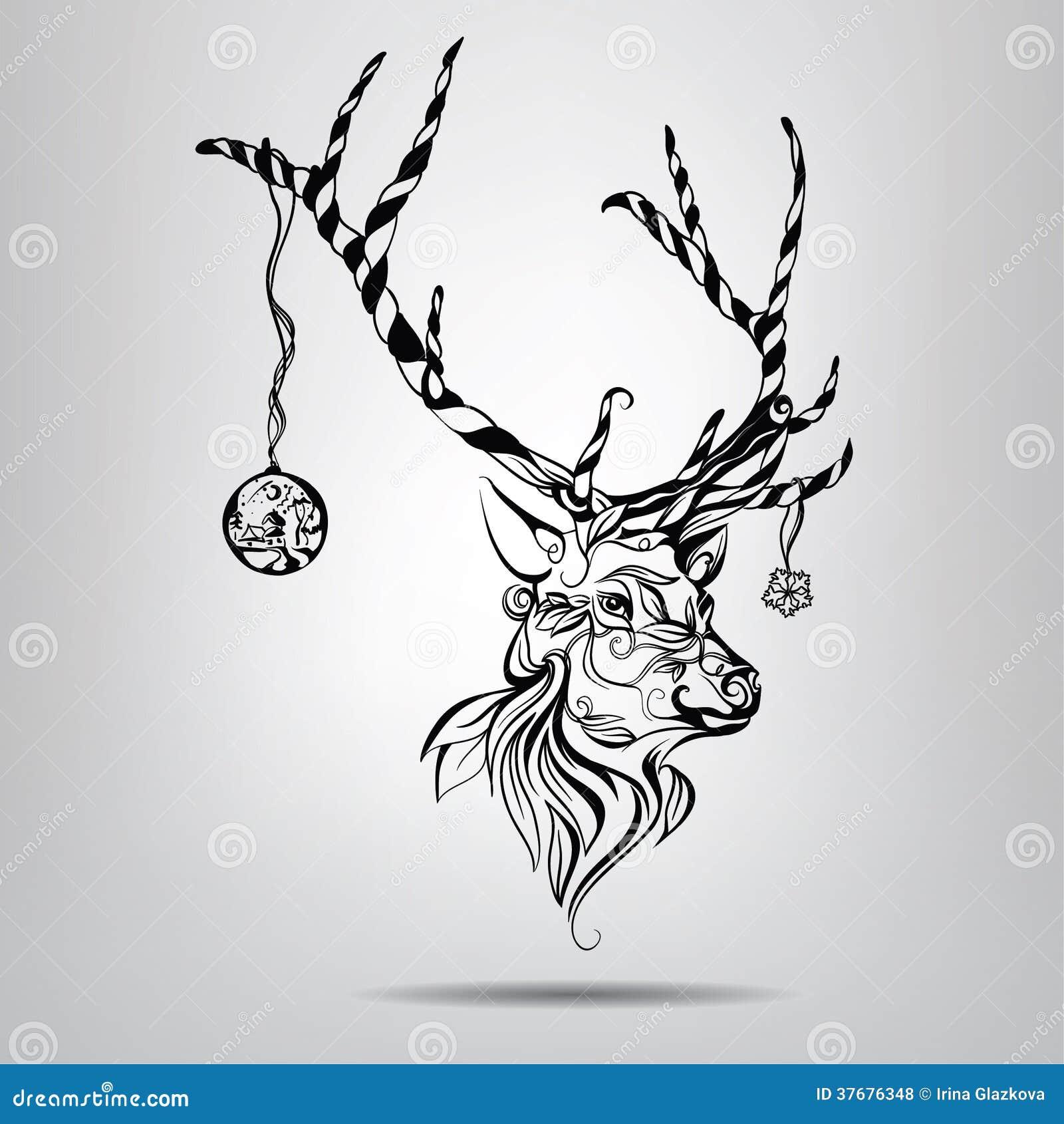 Deer illustration black and white - photo#37