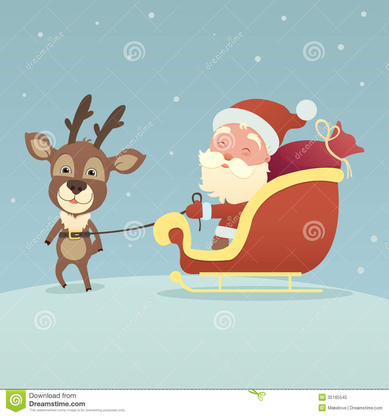 Christmas deer and santa claus stock vector image