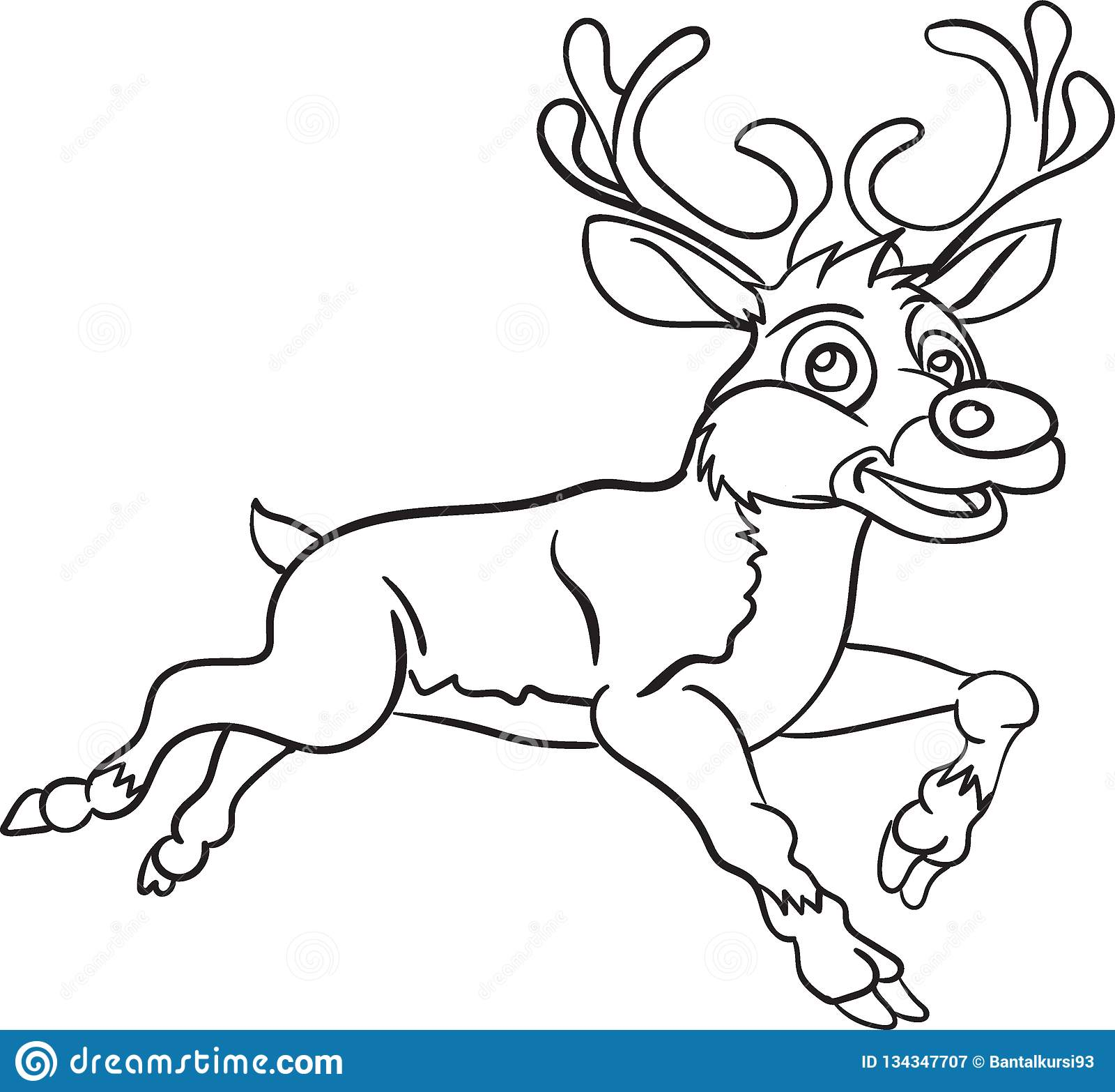 Christmas Deer Santa Coloring Page Stock Illustration ...