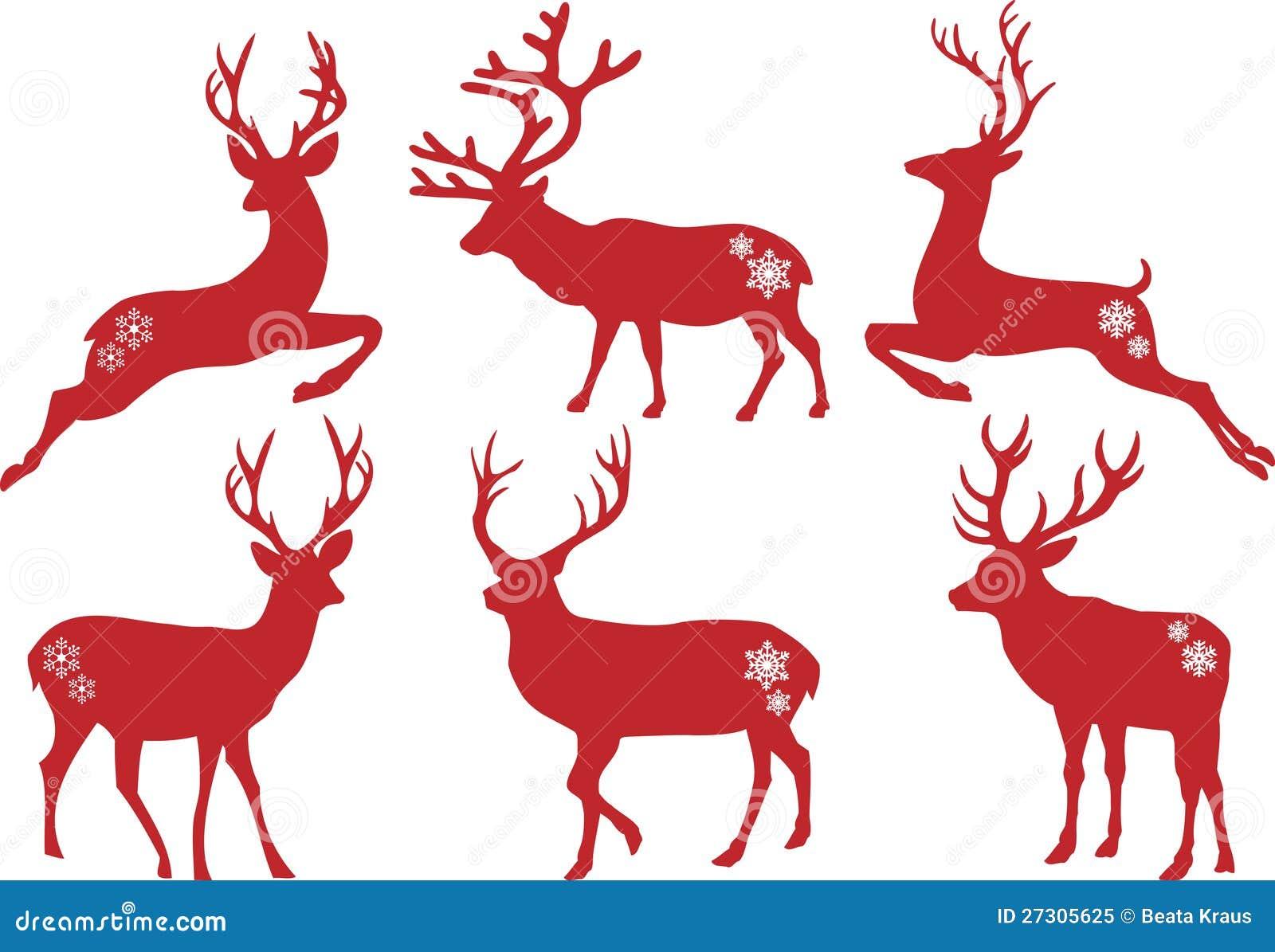 Christmas Deer Stags, Vector Set Royalty Free Stock Photo - Image ...