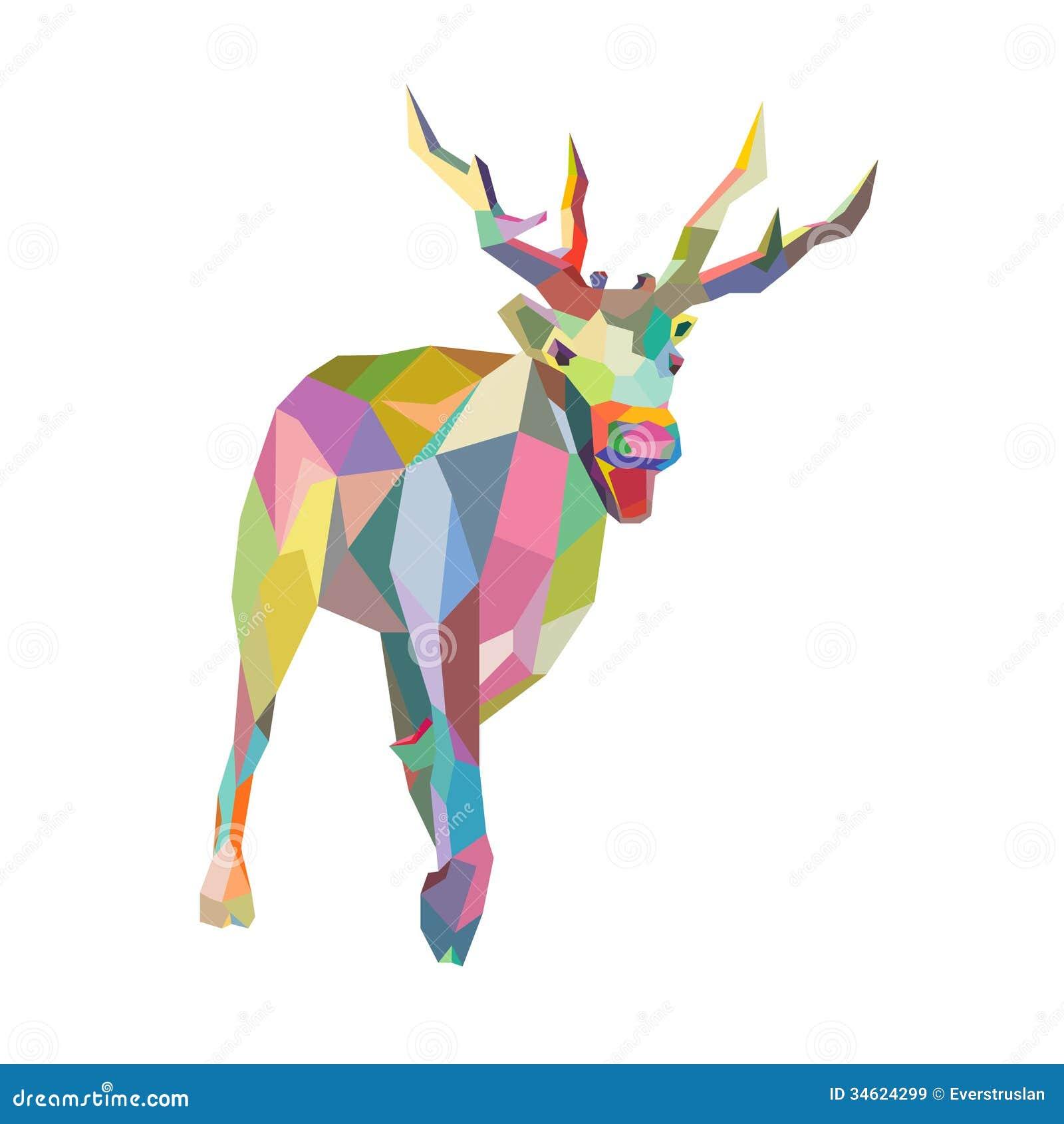 Christmas Deer Trendy Hipster Style Geometric Royalty Free