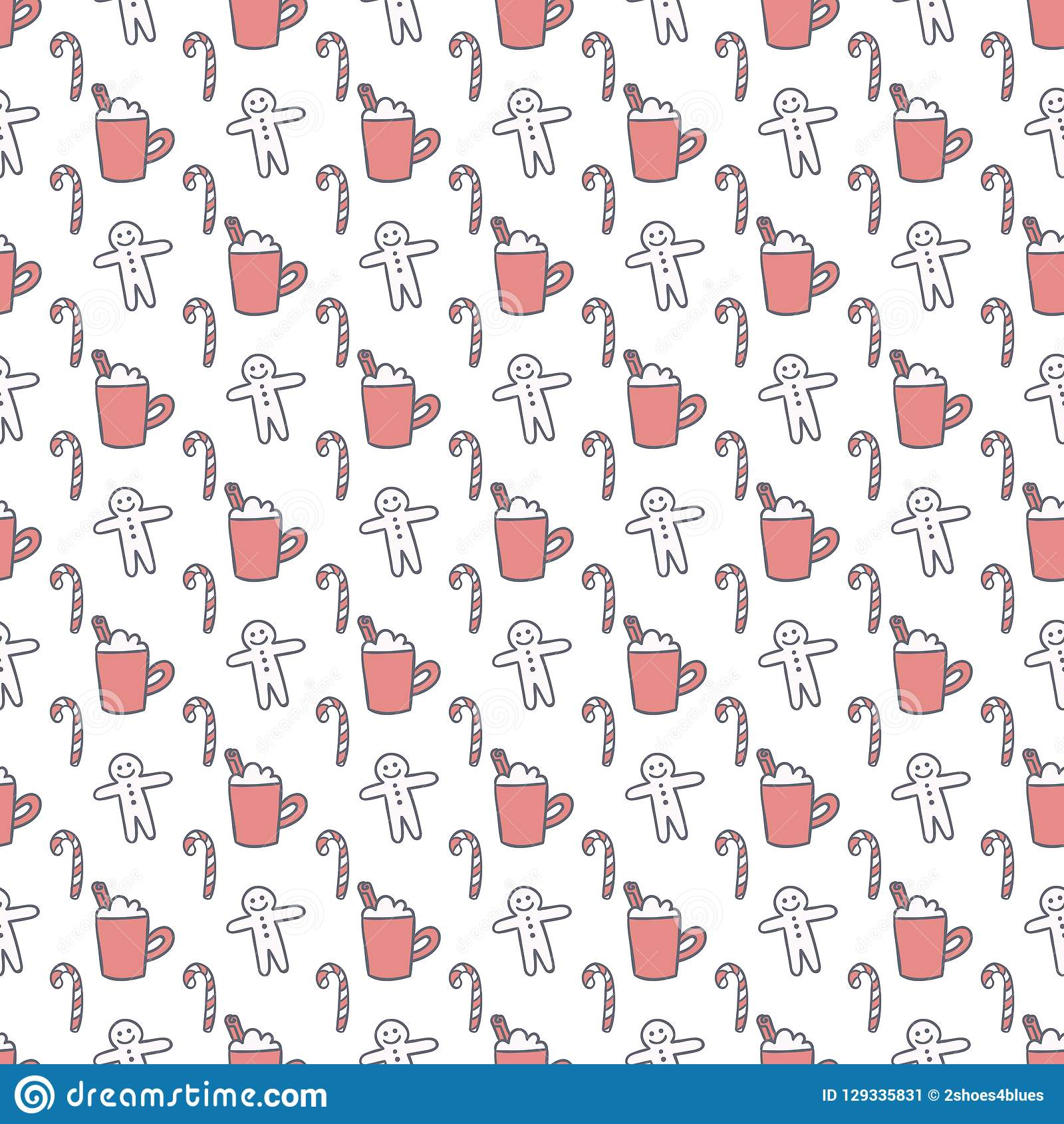Christmas delights vector seamless pattern. Winter holidays desserts simple gray and pink background