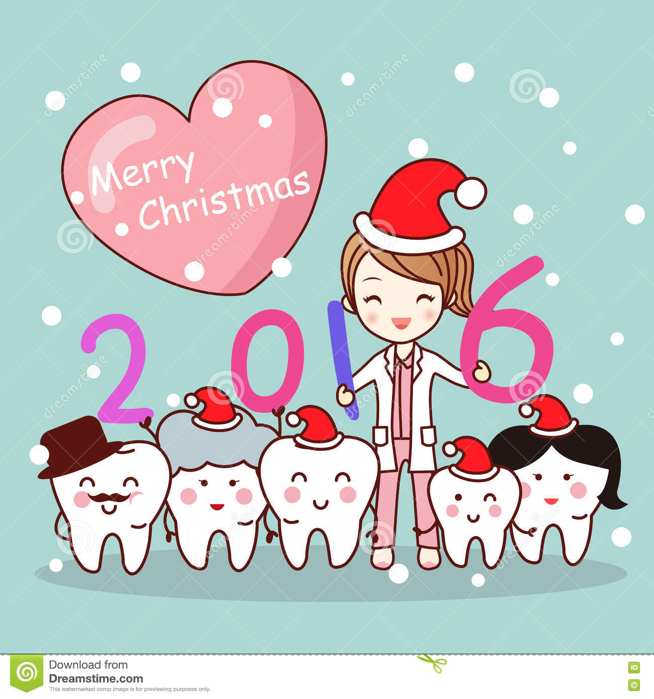 Christmas Dentist With Tooth Family Stock Vector - Image: 79169490