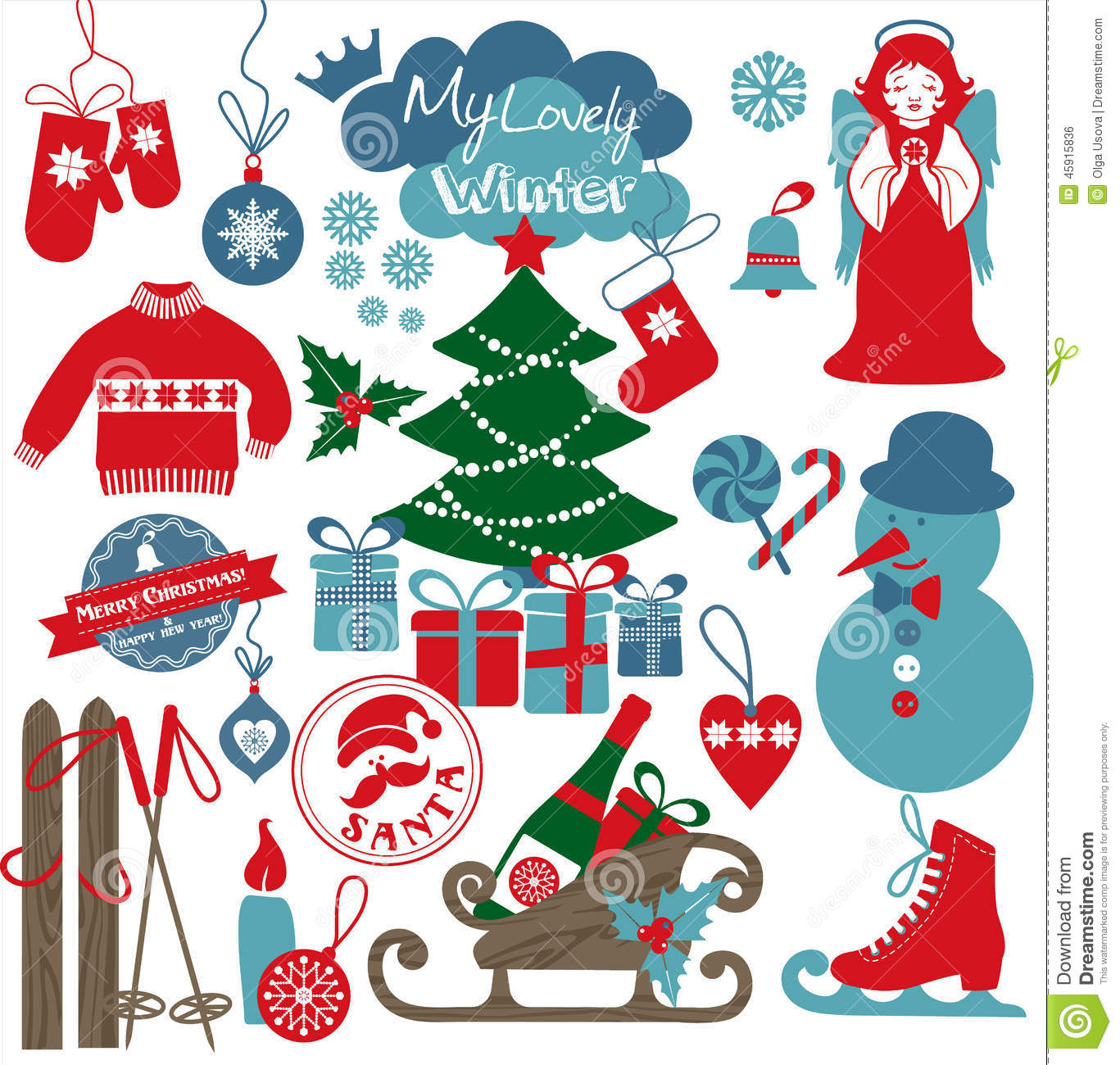 christmas design icons set happy new year card