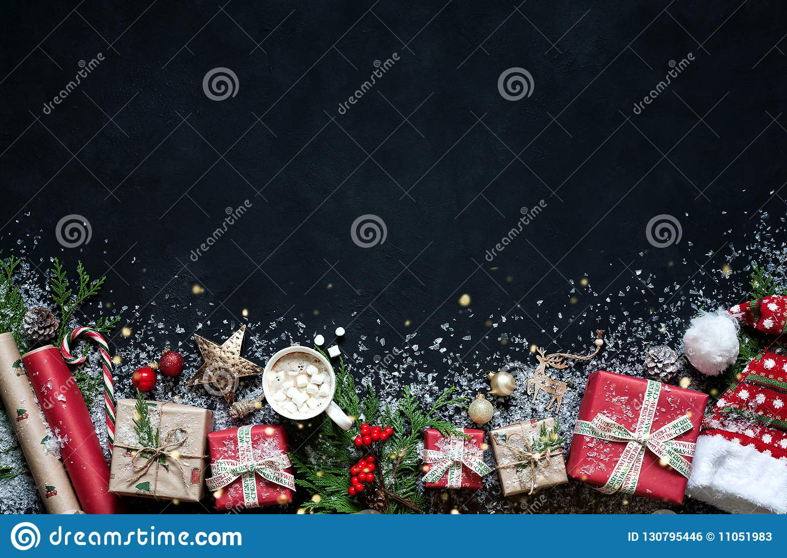 Christmas Composition On A Black Background Christmas Decorations ... 738144ea8056
