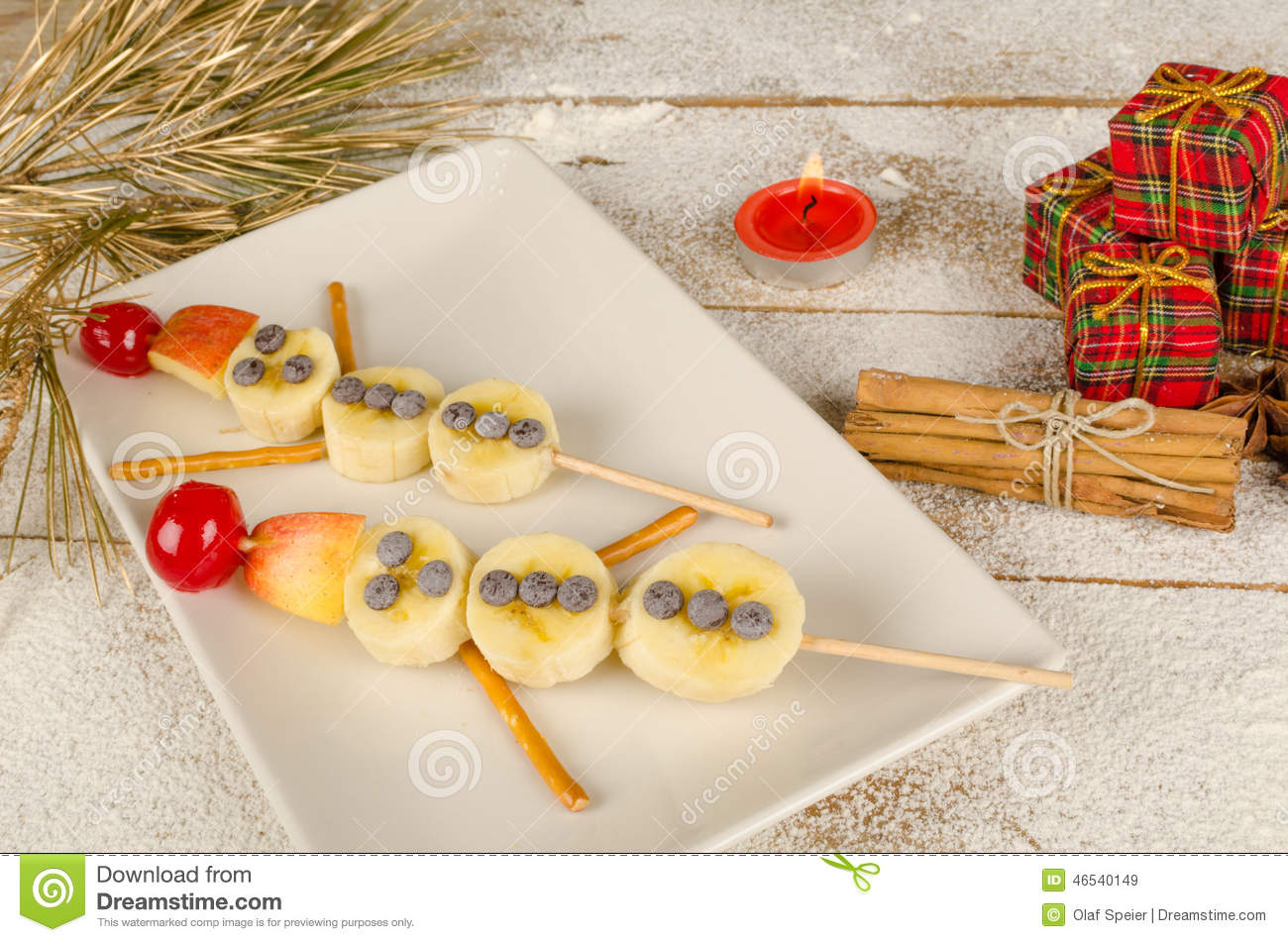Christmas dessert for kids stock image. Image of banana - 46540149