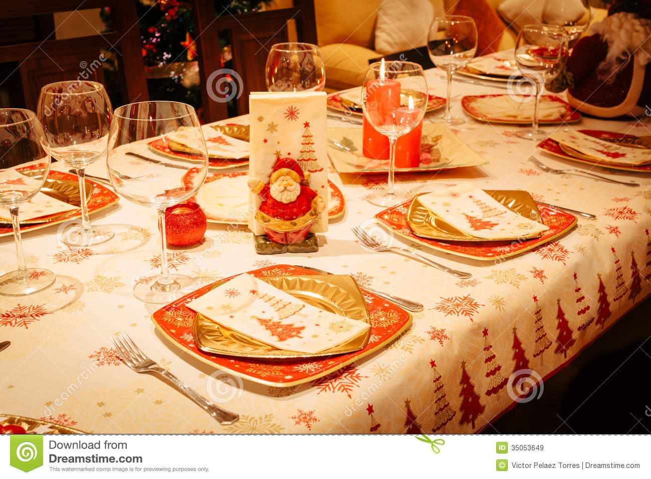 Dinner Table Background christmas dining table with christmas tree in background royalty
