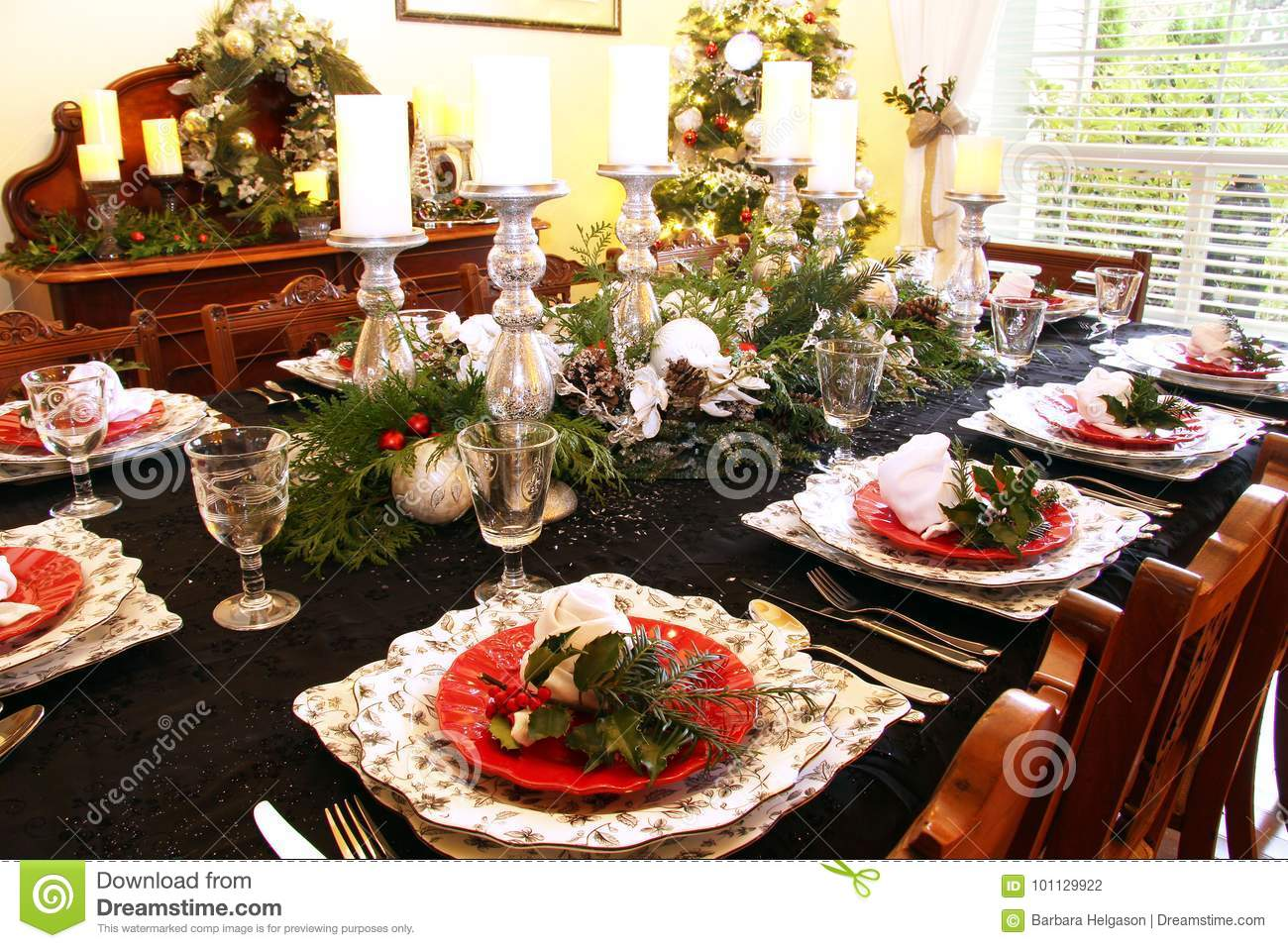 Christmas dining table stock photo Image of elegant