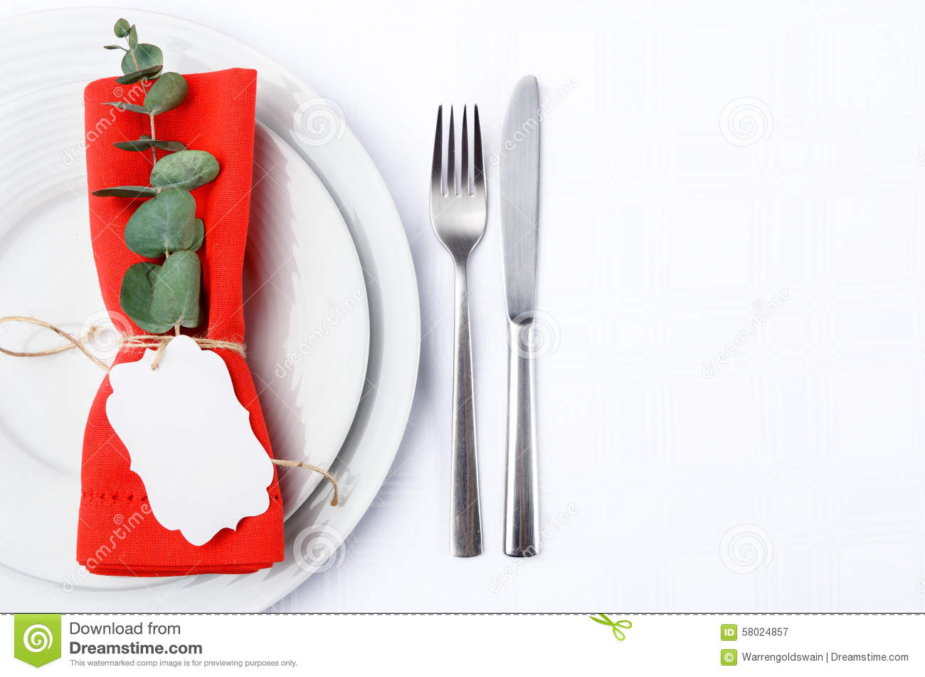 Christmas Dinner Cutlery With White Plates Stock Image - Image of ...