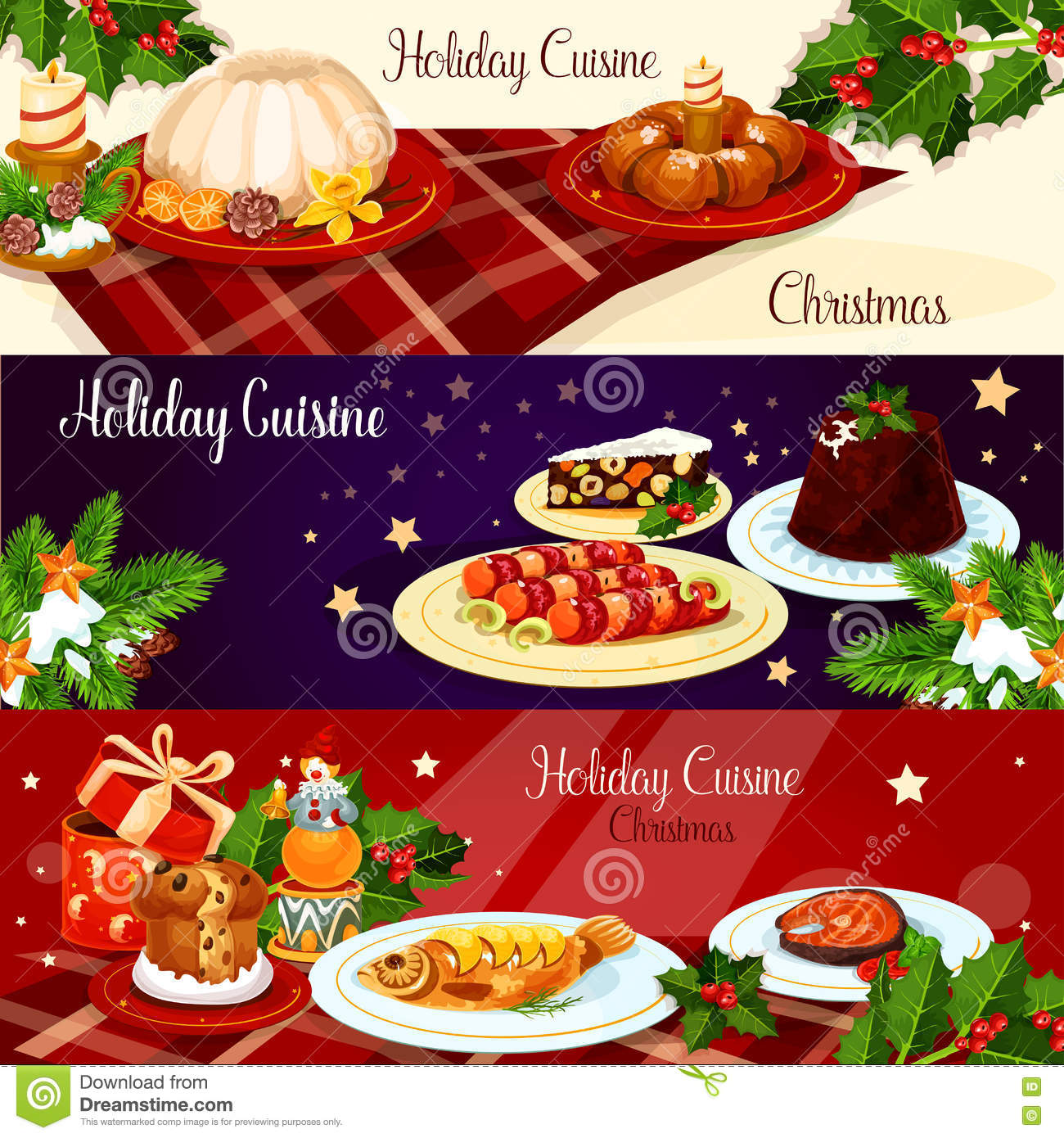 christmas dinner dishes with holly and gift banner - British Christmas Dinner