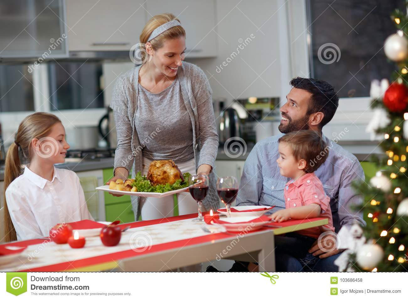 Christmas dinner, happy family at the table