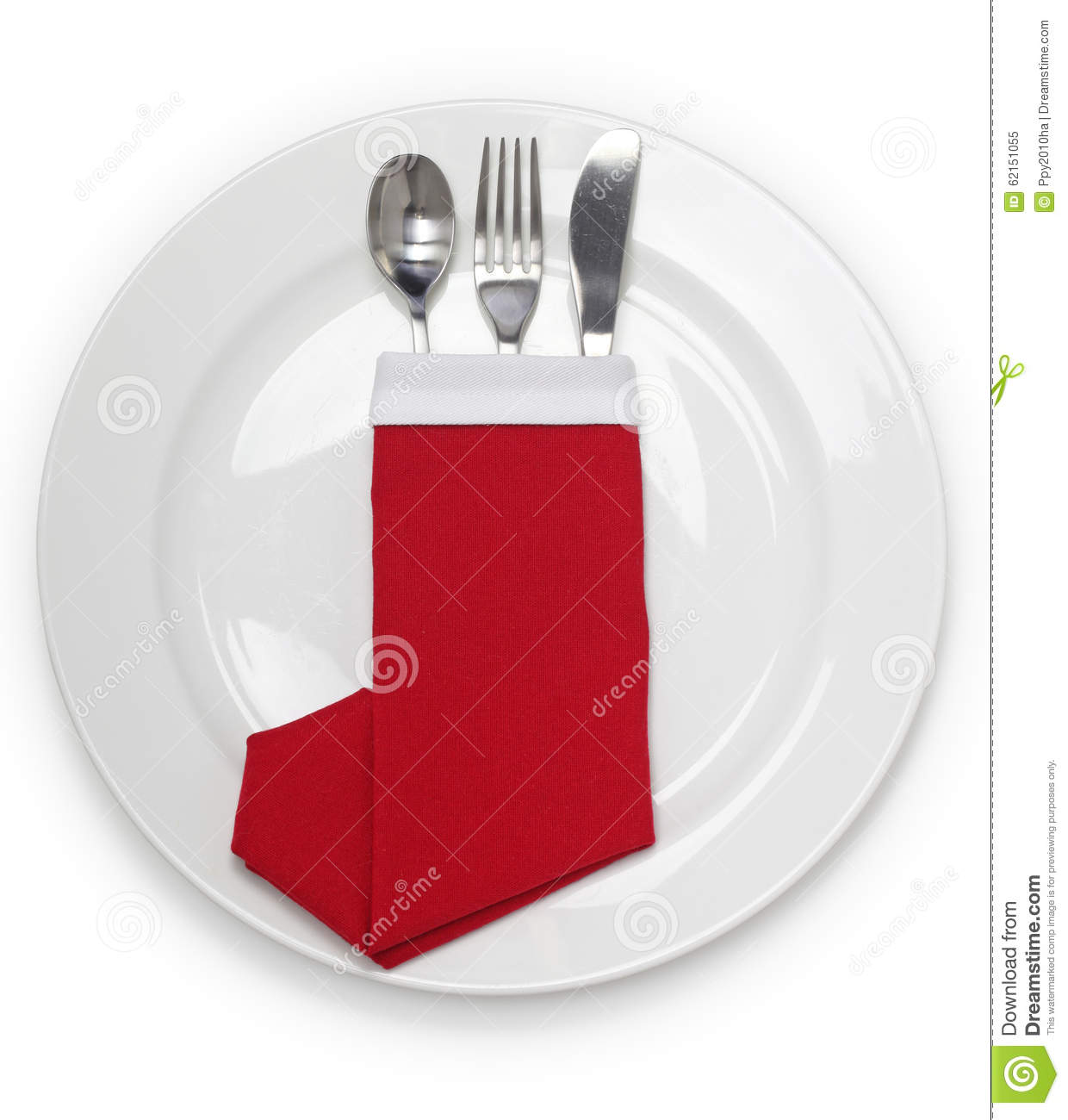 Christmas Dinner Napkin Folded As A Santa Claus Boots