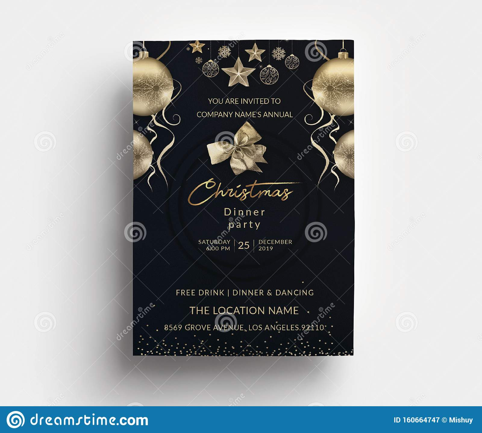 Christmas Dinner Party Invitation Card Template Stock Vector - Illustration  of christmas, merry: 160664747