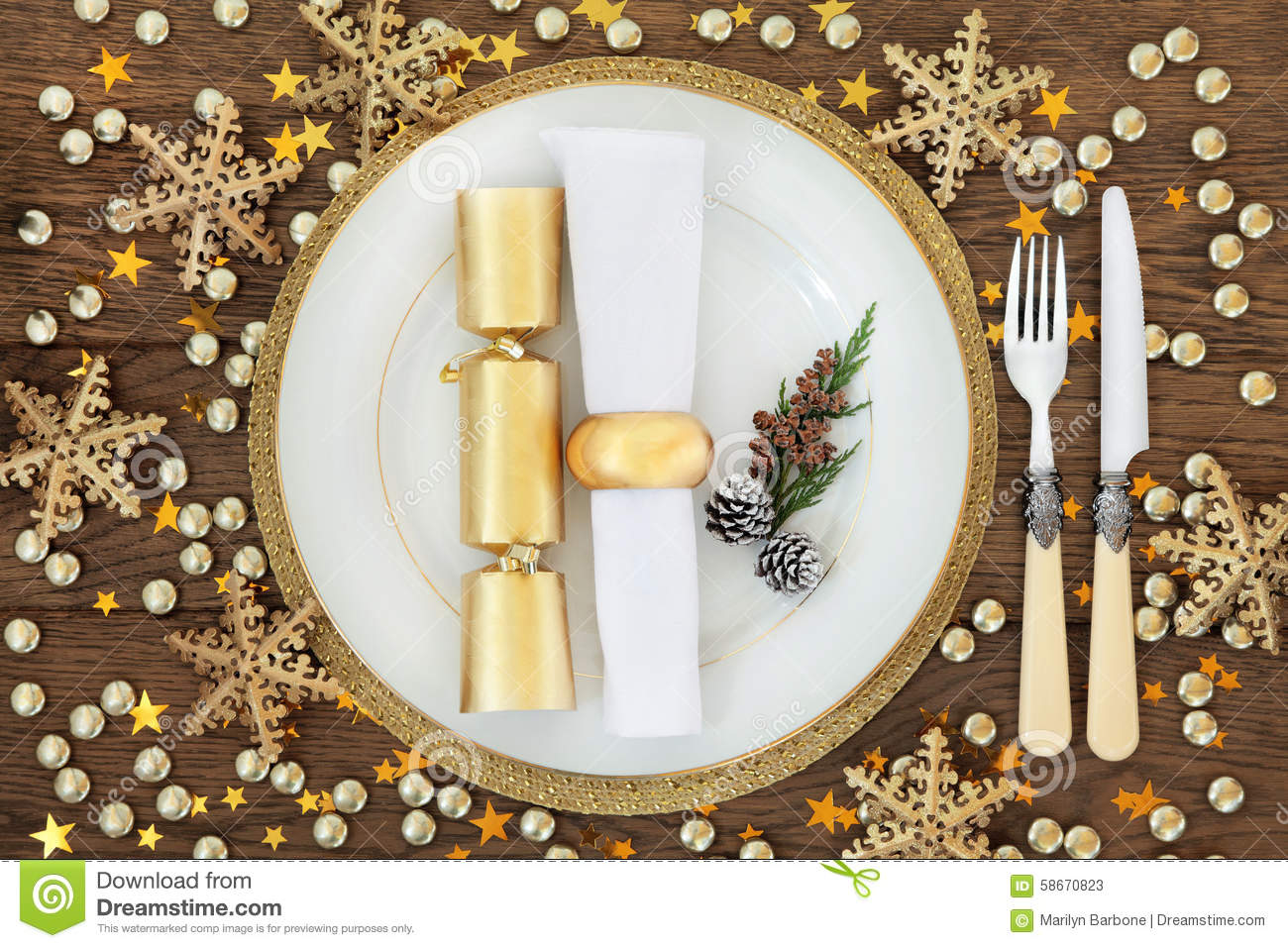 Christmas Dinner Place Setting Stock Photo Image 58670823