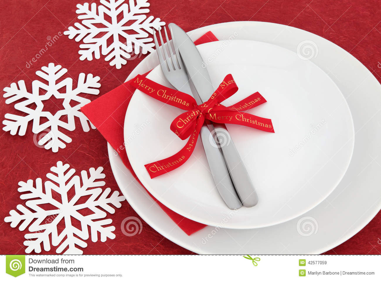 Christmas Dinner Place Setting Stock Photo Image 42577059