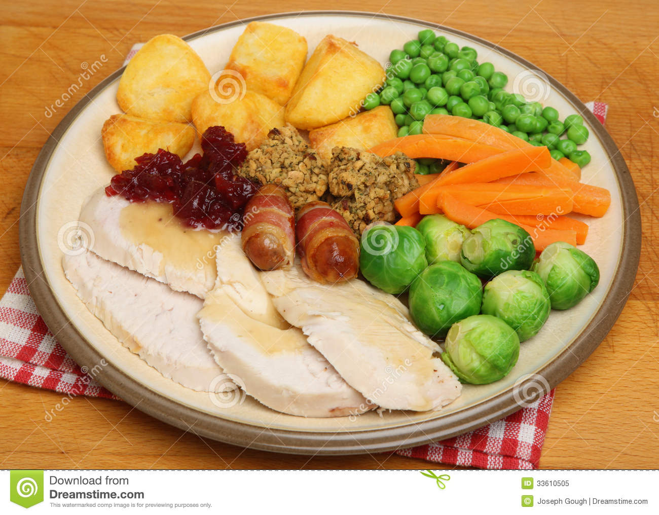 Christmas Dinner Of Roast Turkey Royalty Free Stock Photo - Image ...