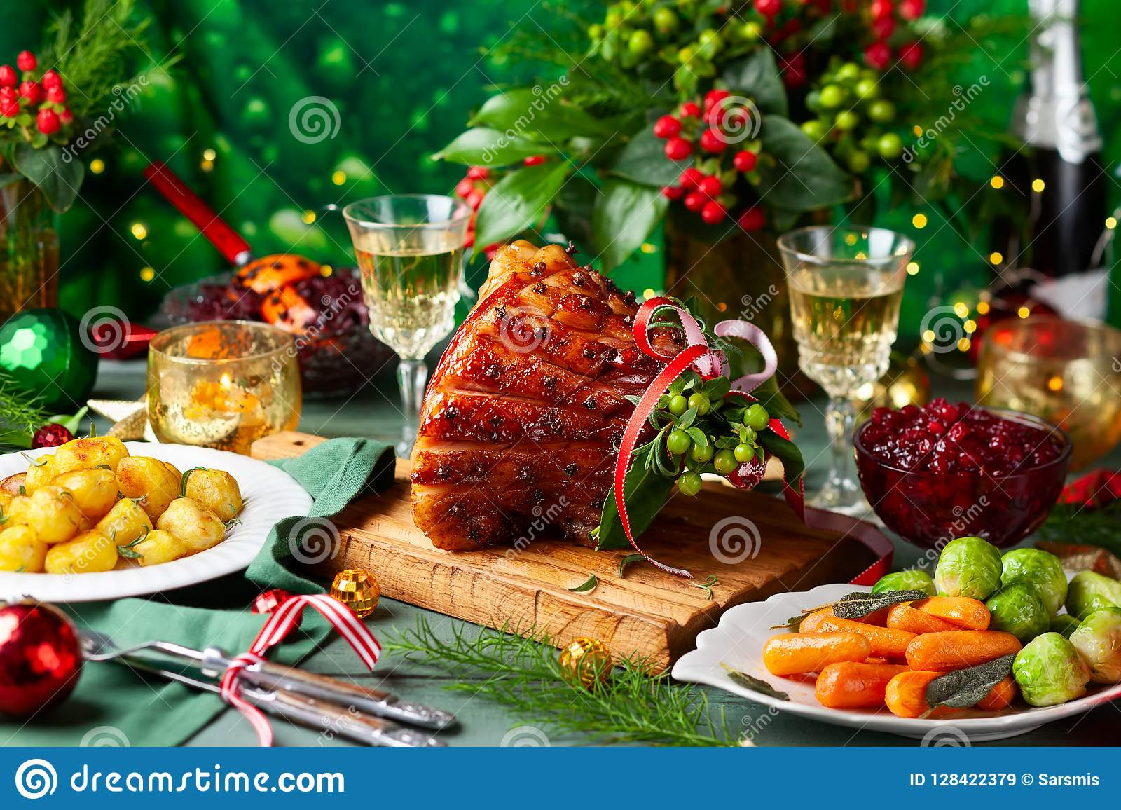 Christmas Dinner With Side Dishes Stock Image Image Of Green Honey 128422379