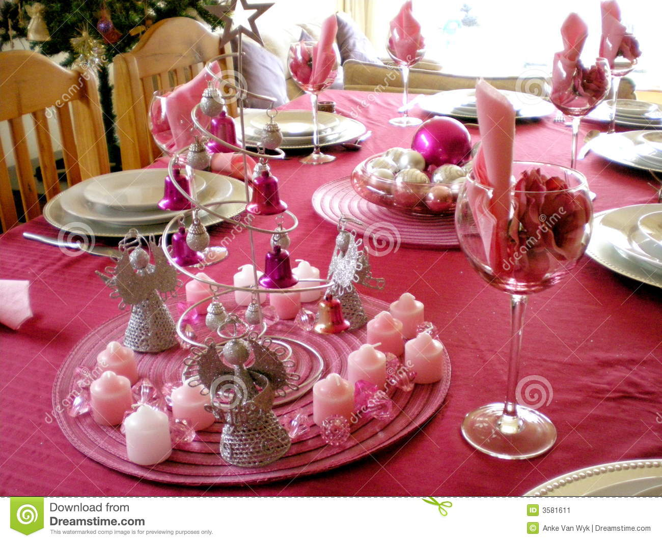 Christmas dinner table stock image image of colour color for Decoration interieur noel