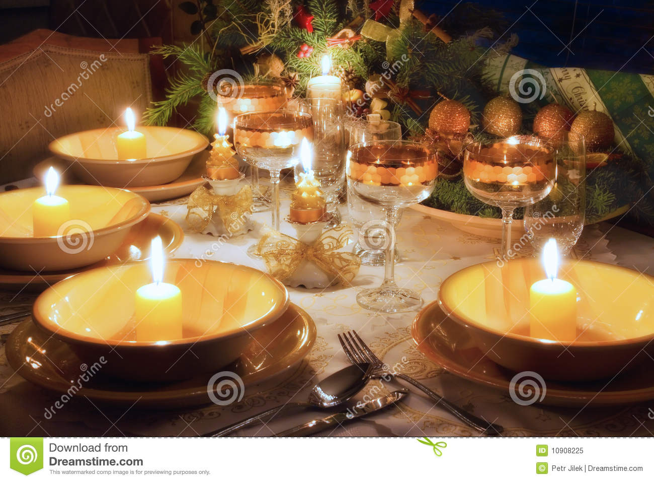 Christmas Dinner Table With Mood Royalty Free