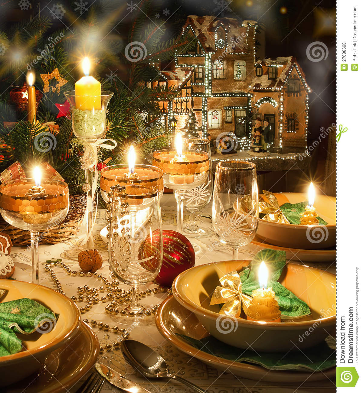 Free Christmas Dinner.Christmas Dinner Table With Christmas Mood Stock Photo
