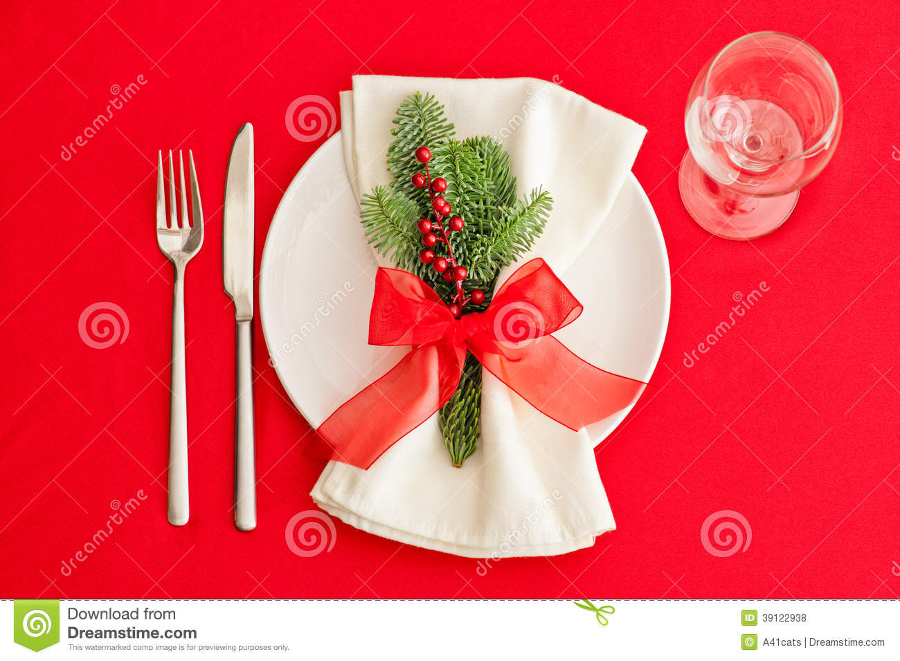 Christmas dinner table place setting in red stock photo image