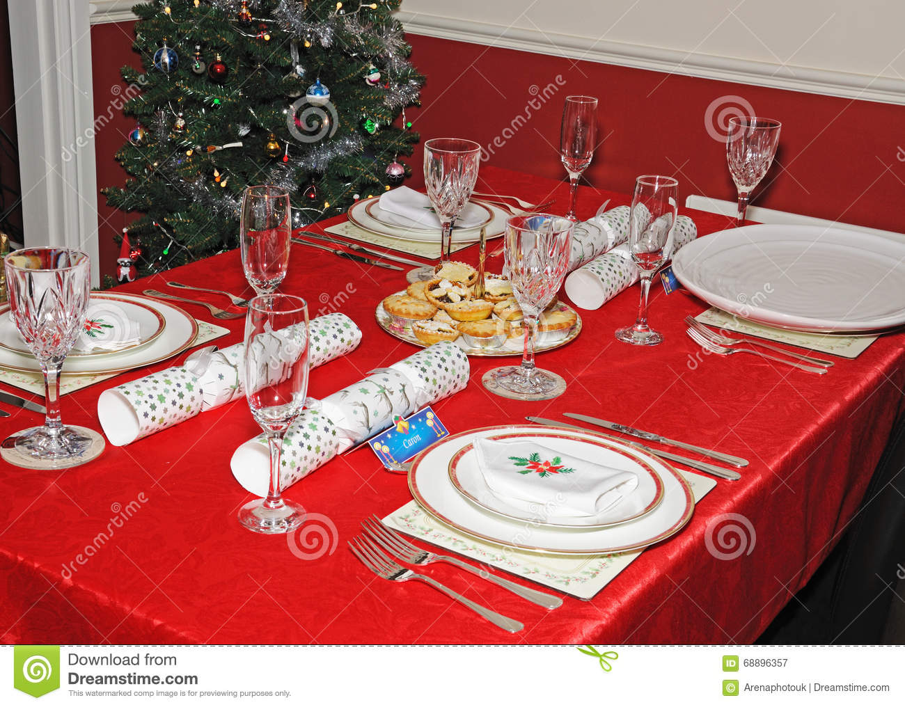 Christmas Dinner Table Setting Stock Image Image Of