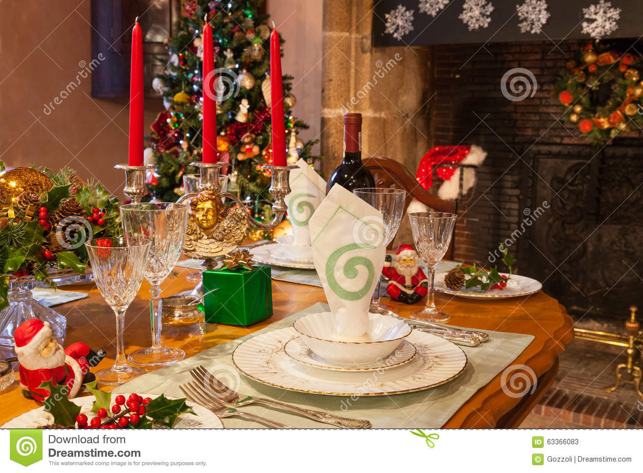 Christmas Dinner Table Setting Warm Ambiance Stock Photo