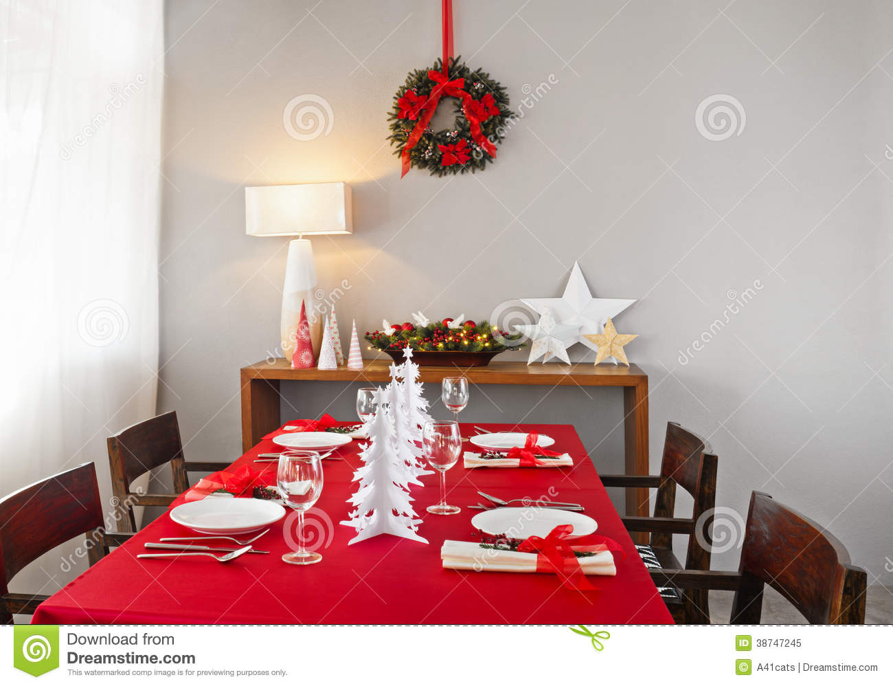 Christmas Dinner Table Setup Royalty Free Stock