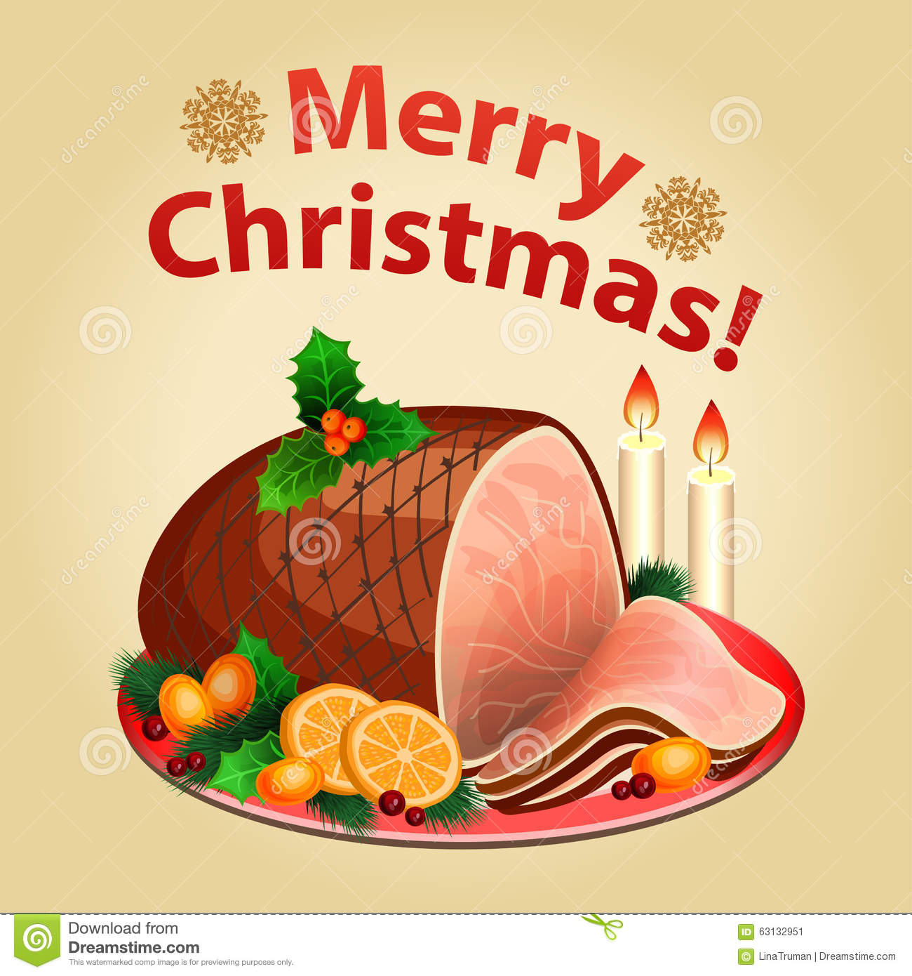 Download Christmas Dinner Traditional Food Ham Stock Vector