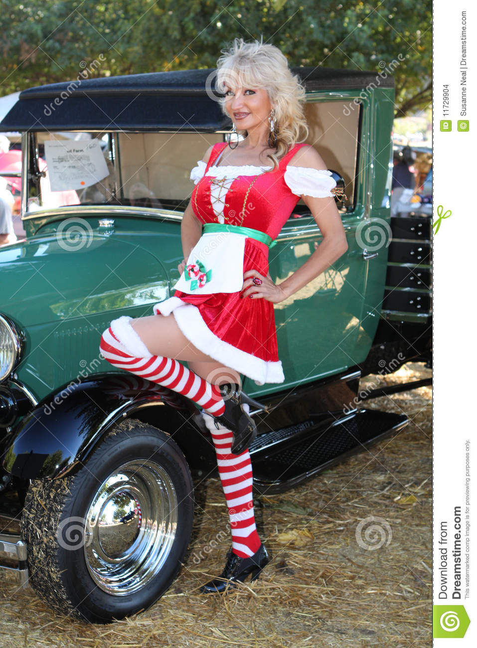 Christmas dirndl pinup woman and classic model t stock images image