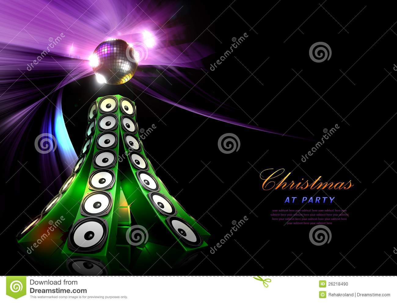 Christmas Disco Party Poster Template Stock Photo Image