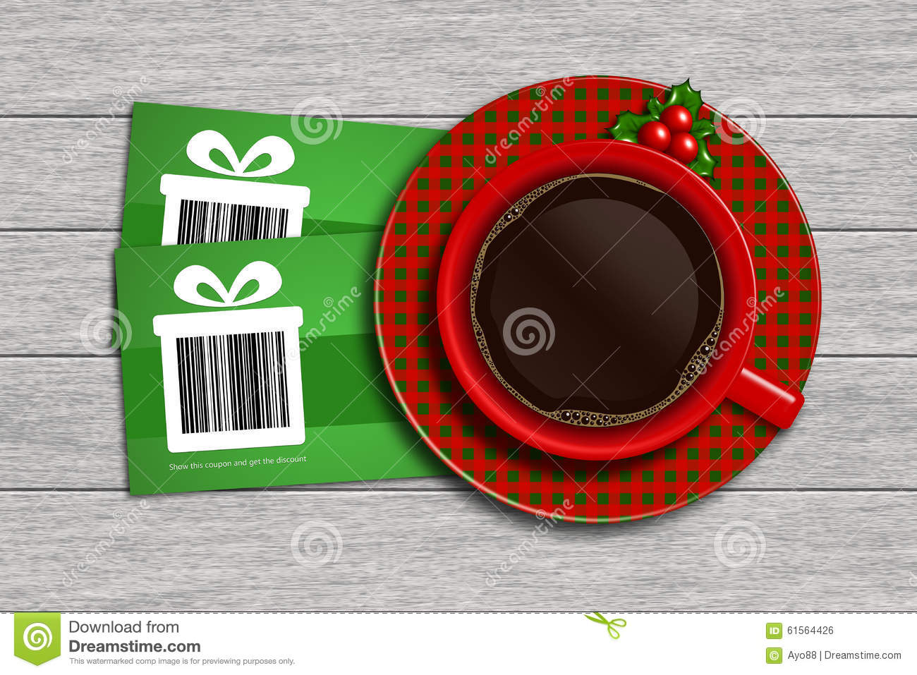 christmas discount coupons barcode and coffee on wooden des christmas discount coupons barcode and coffee on wooden des
