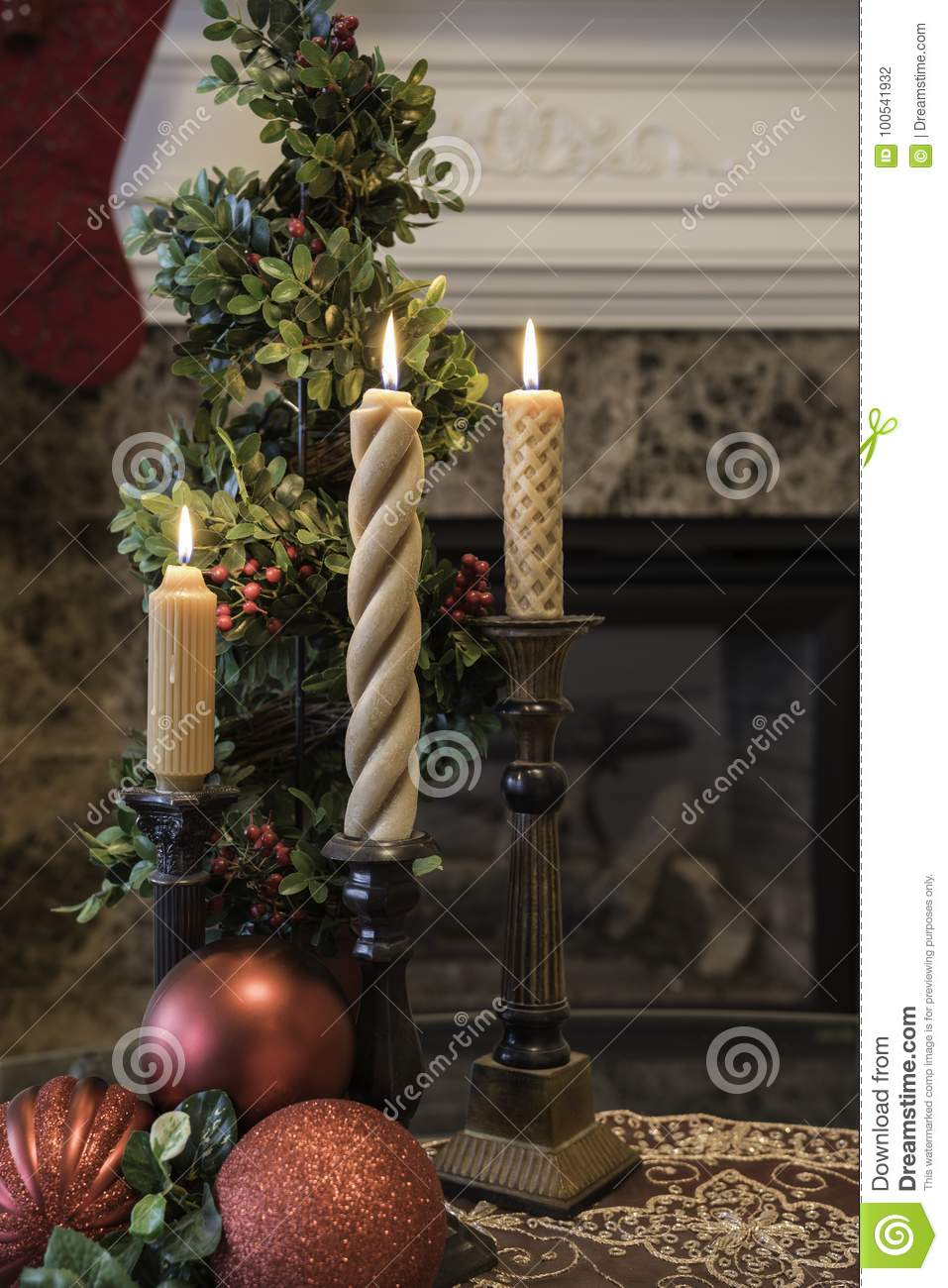 Christmas Decorations In Front Of The Fireplace Stock Photo Image
