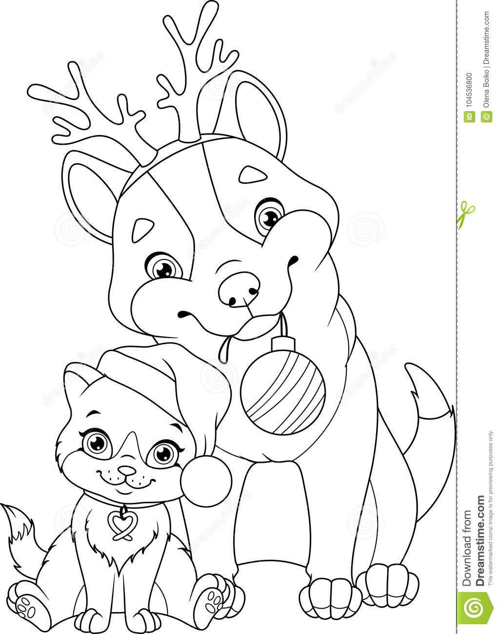 christmas dog with cat coloring page