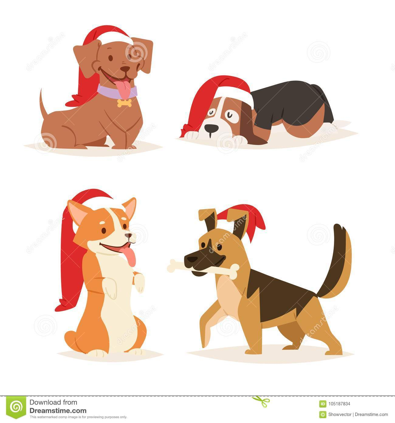 88e26721d9 Christmas dog vector cute cartoon puppy characters illustration couple pets  doggy different Xmas celebrate poses in Santa Red Hats
