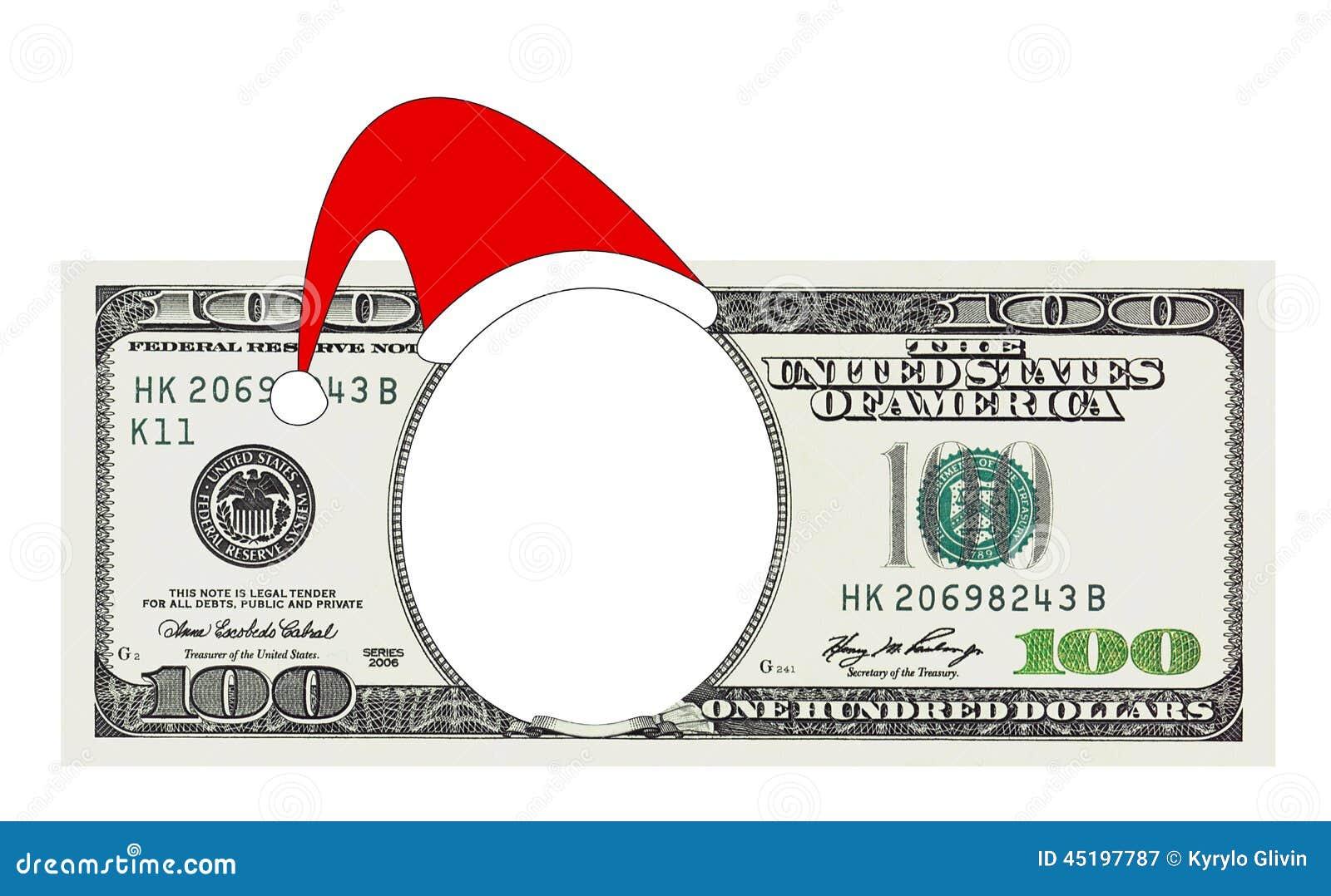 A Christmas 100 Dollar Bill No Face, Clipping Path Stock ...