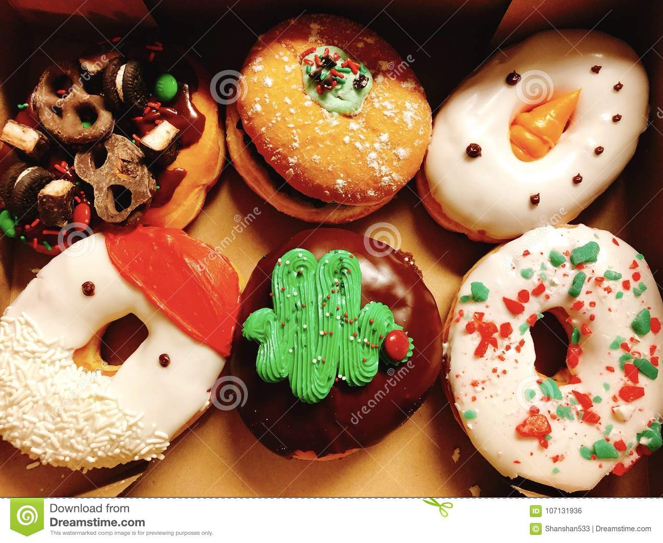 download christmas donuts stock photo image of decorated cream 107131936