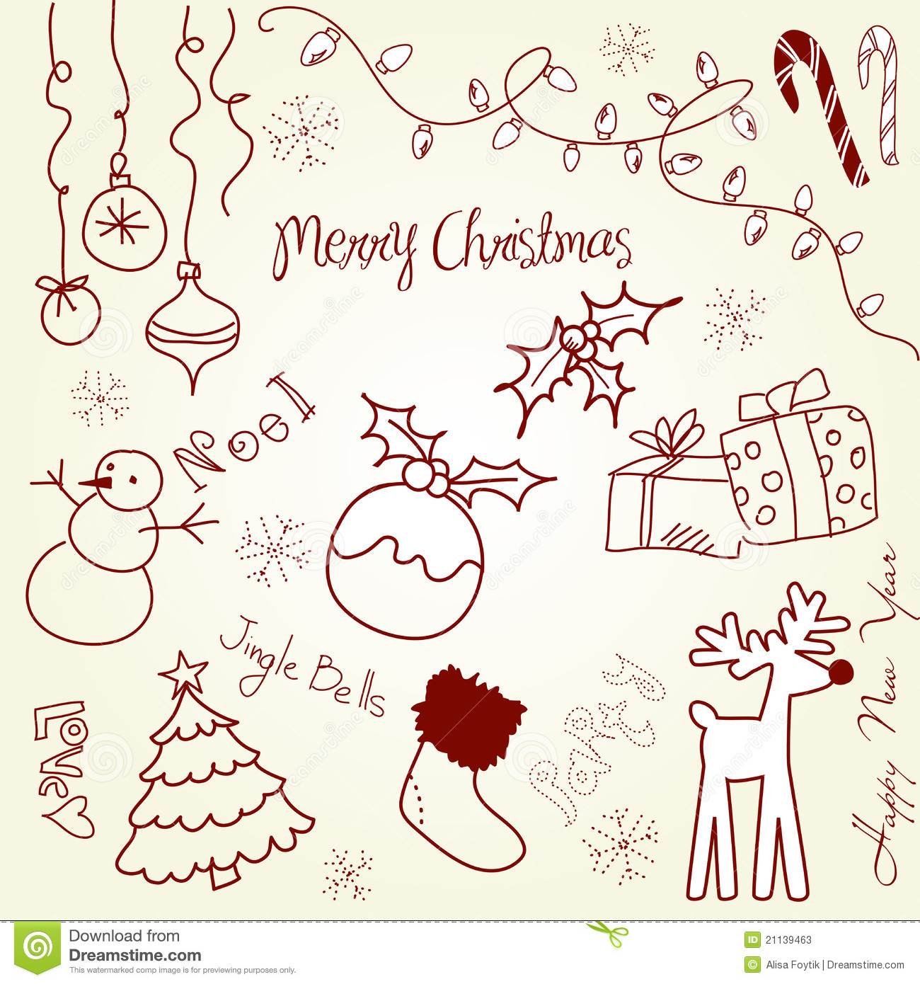 With white christmas background and snow vector vector background - Christmas Doodle Stock Photos Image 21139463