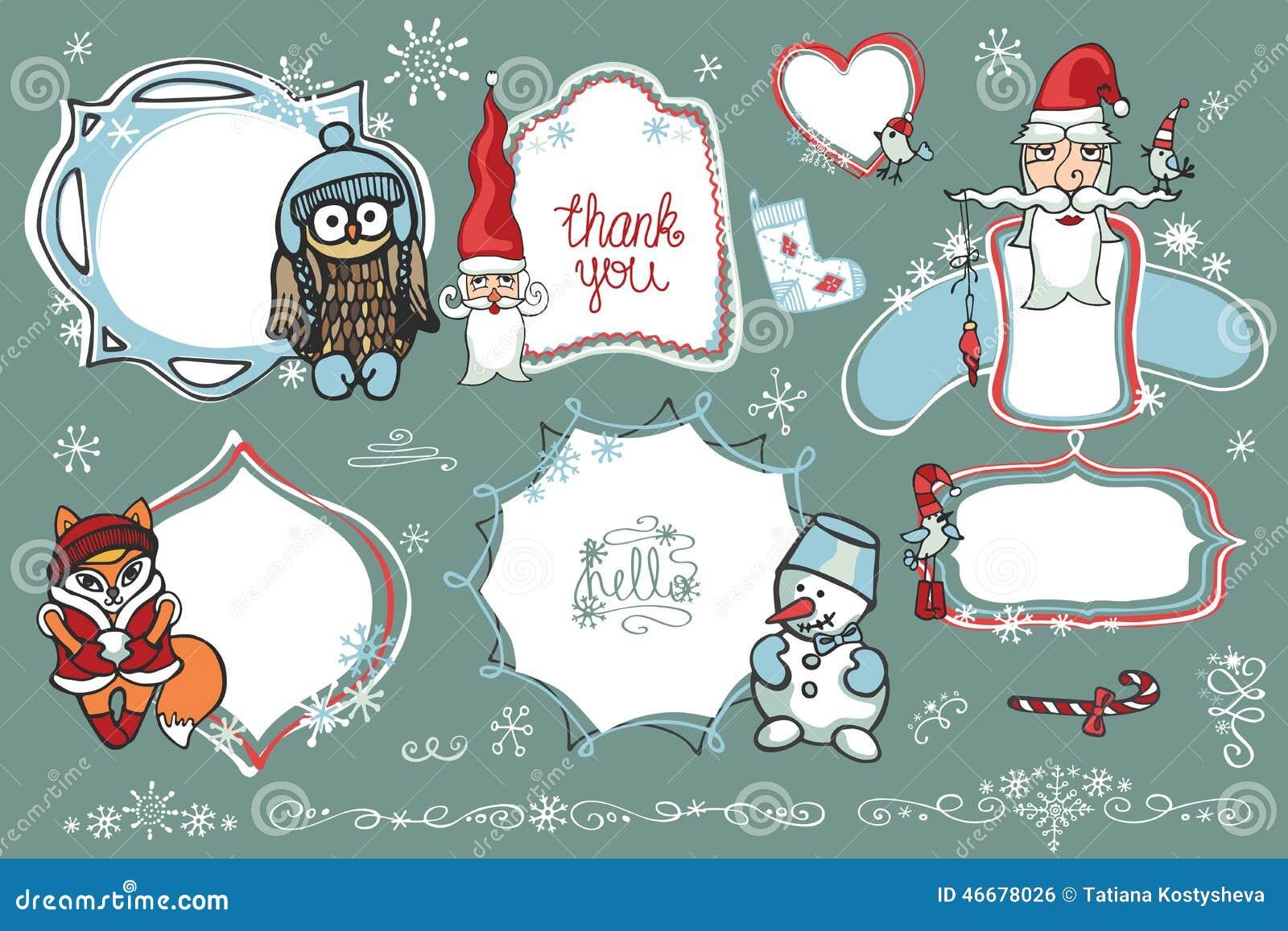 humor christmasnew year setfor design templatesinvitationscard childrens hand drawing style winter vector