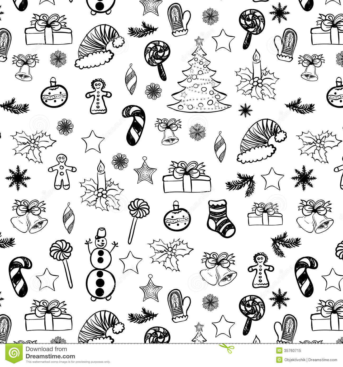 Free christmas vectors download christmas vector images and art free - Christmas Doodles Seamless Black On White 2 Royalty Free Stock Photo